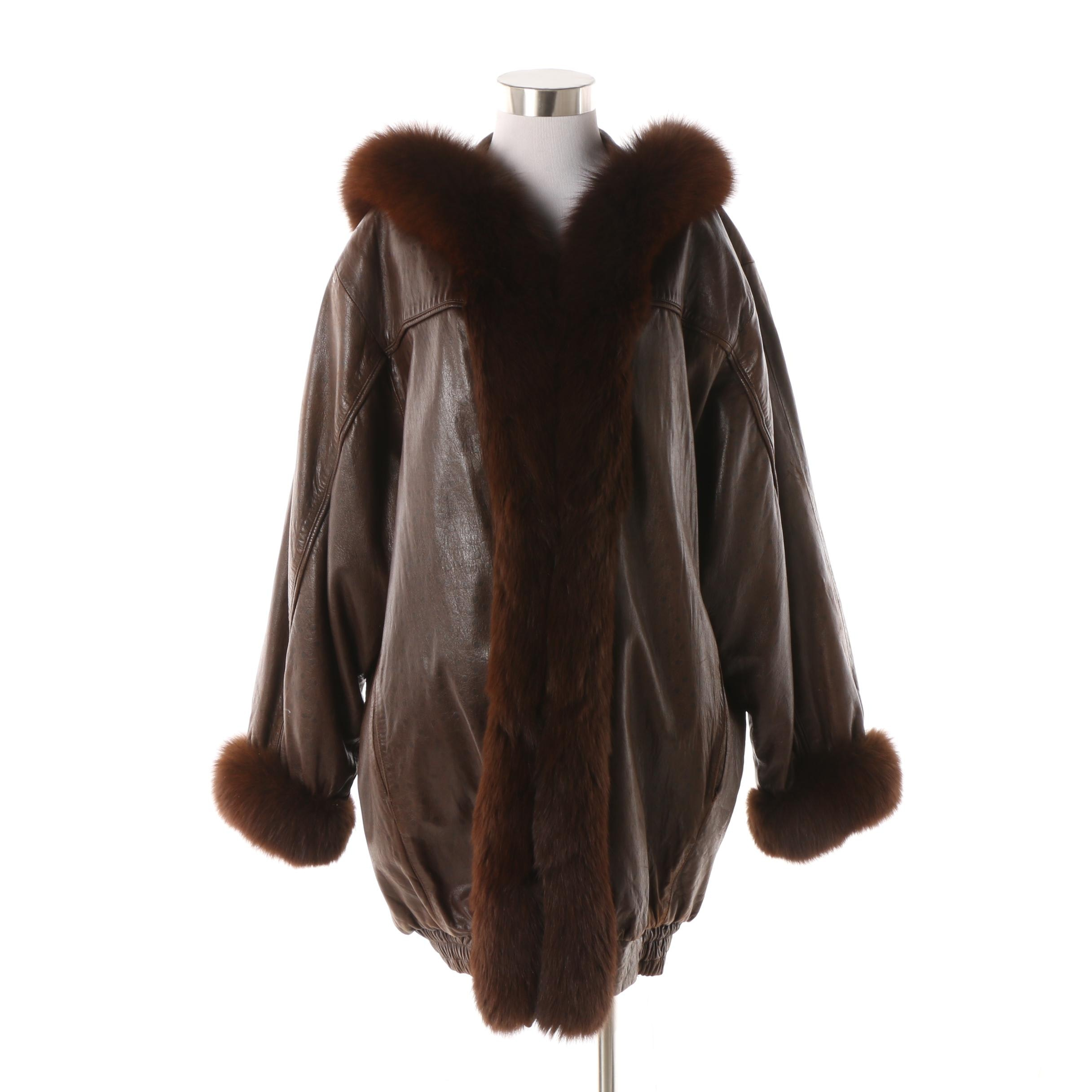 Women's 1980s Leather Car Coat with Fox Fur Trim and Sheared Beaver Fur Lining