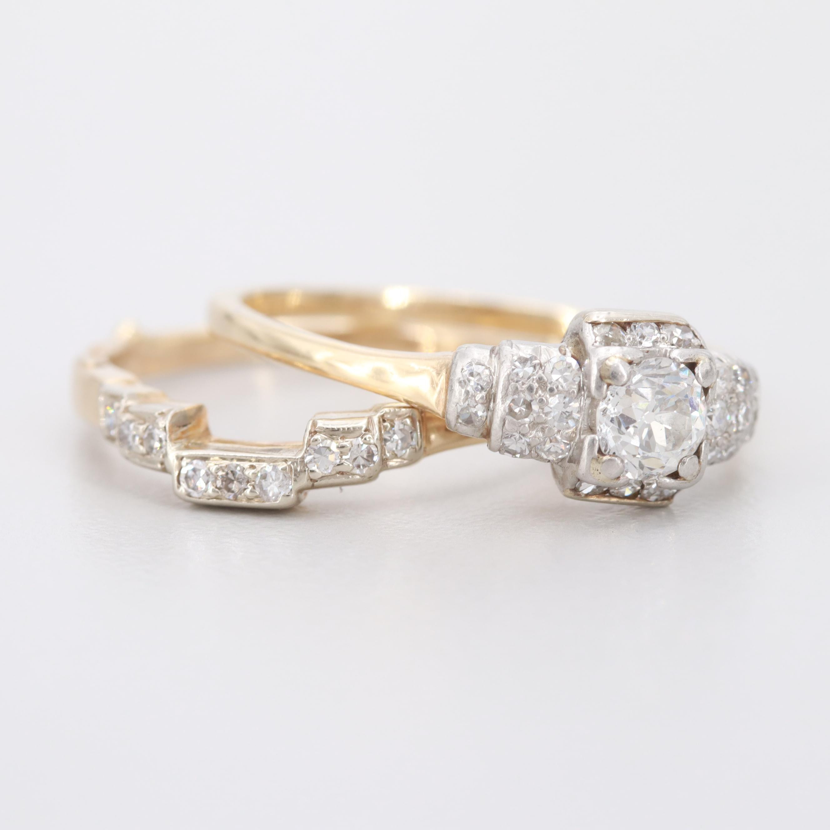 Platinum and 14K Yellow Gold Ring Set