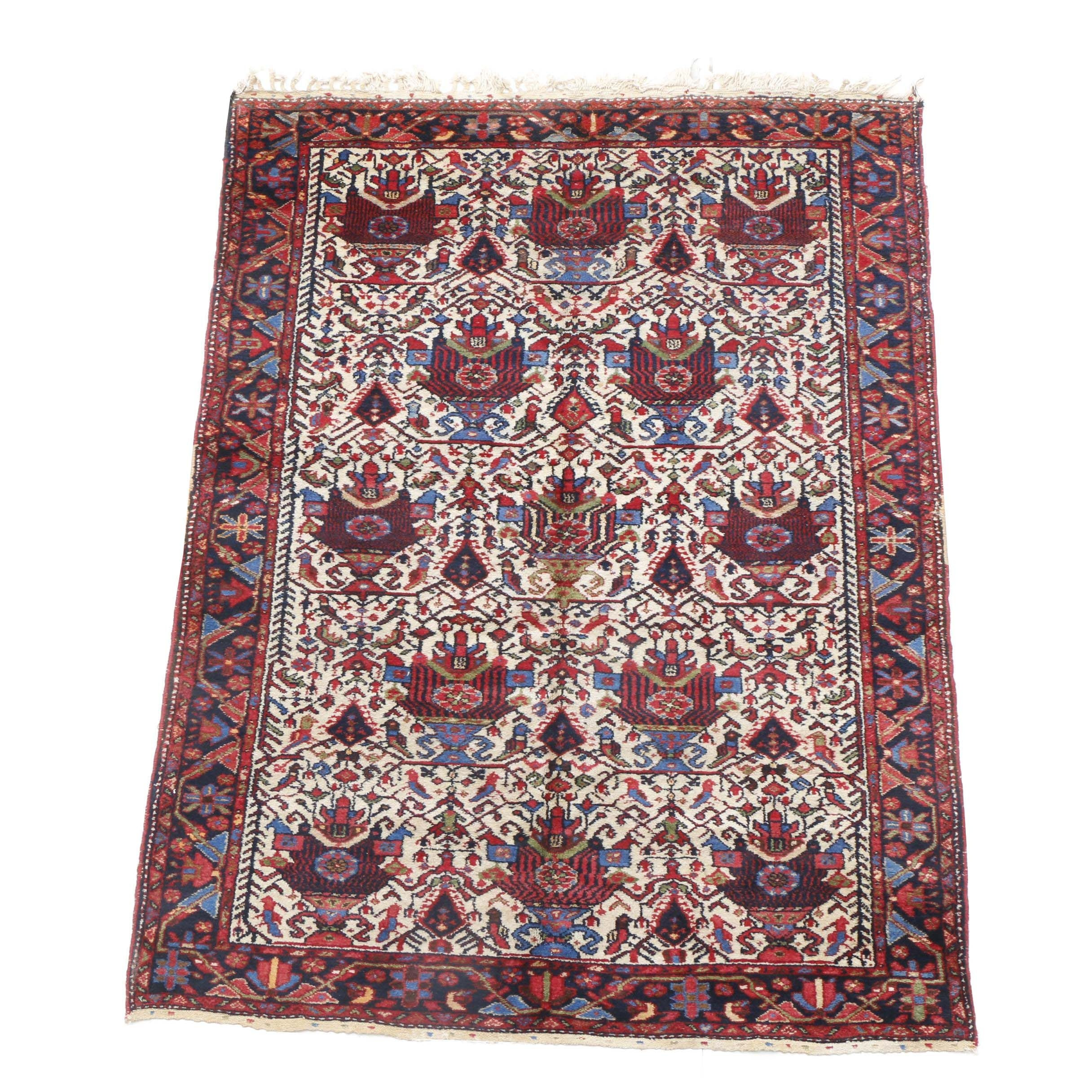 Hand-Knotted Persian Bakhtiari Area Rug