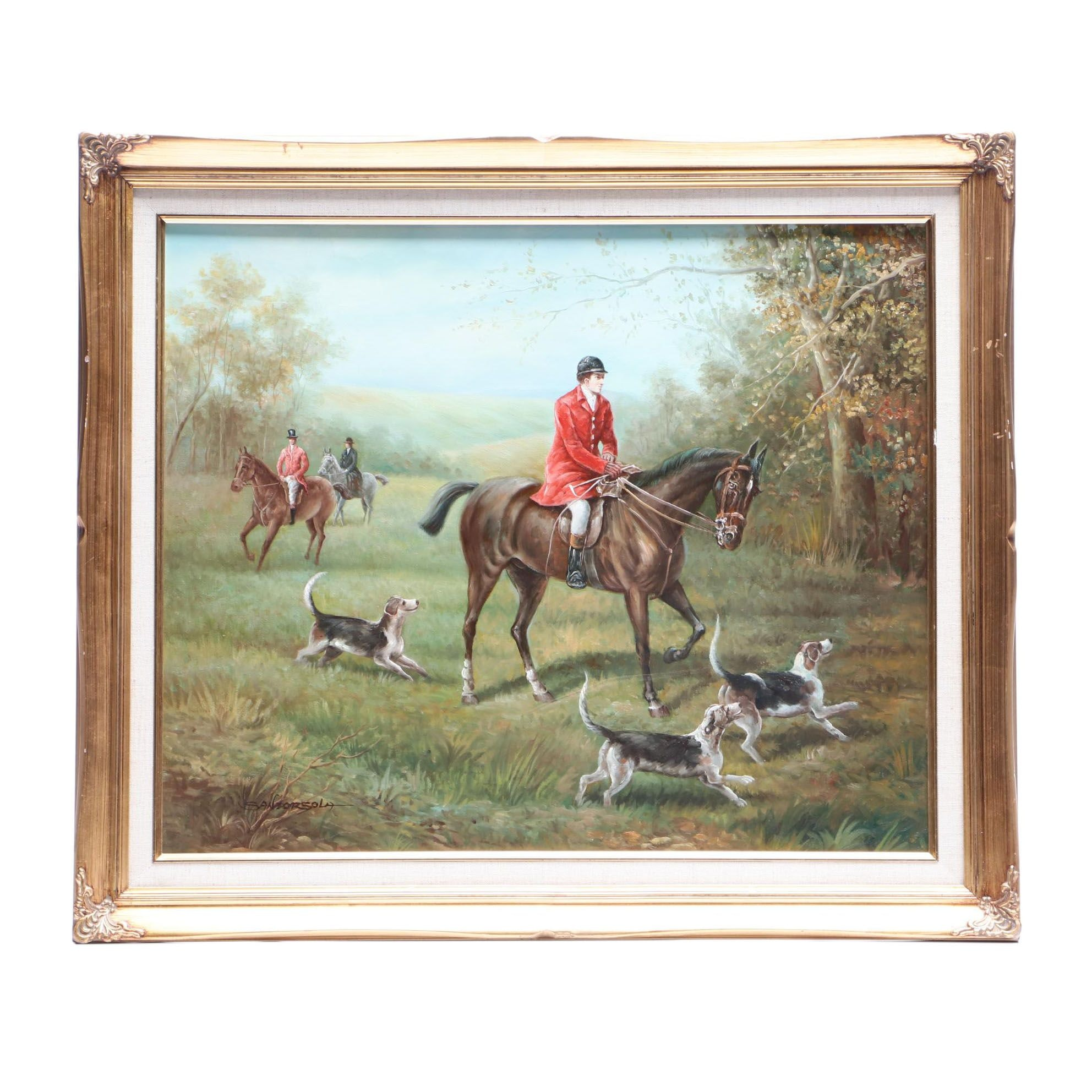 Mid-20th-Century Oil Painting of Hunting Scene