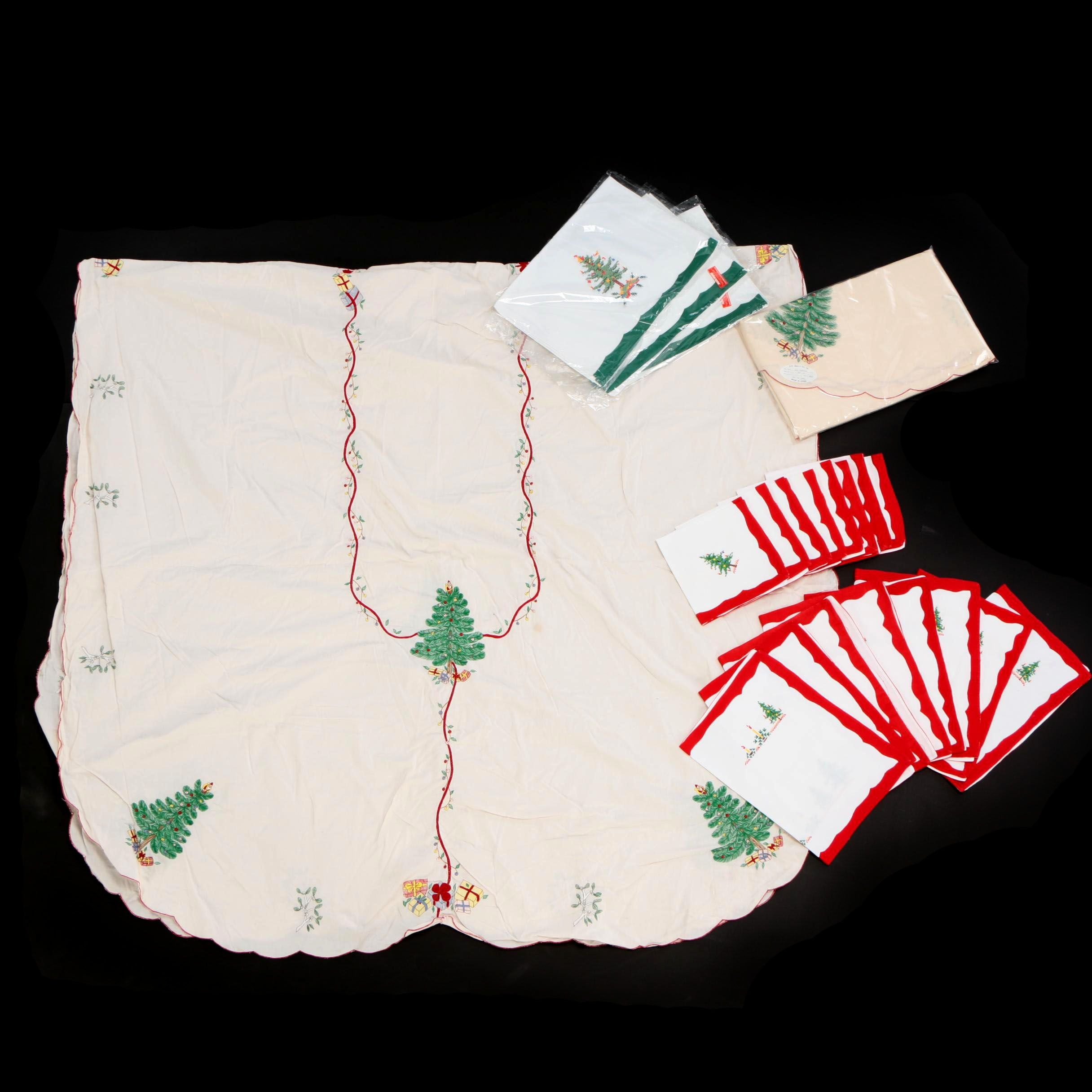 Christmas Themed Embroidered and Needlepoint Table Linens