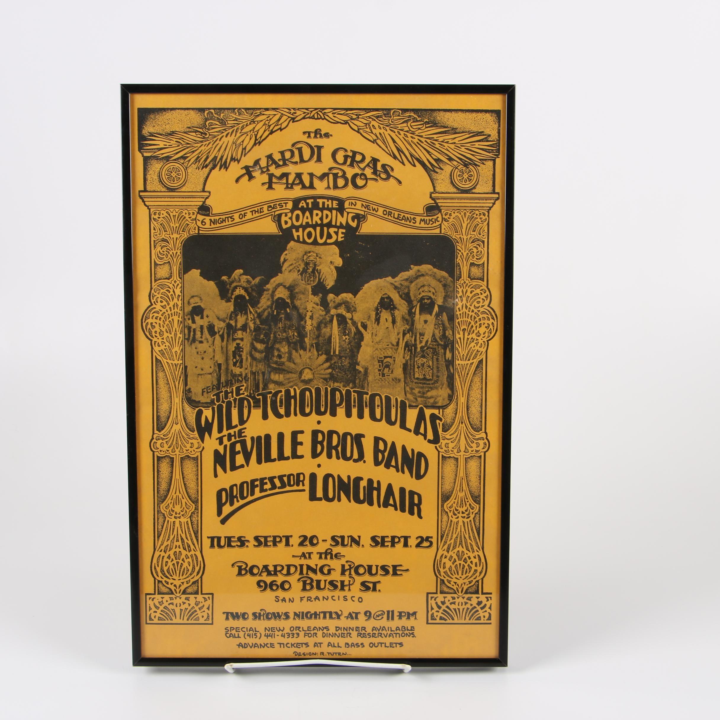 "Framed ""Mardi Gras Mambo"" Live Music Event Poster Designed by Randy Tuten, 1977"