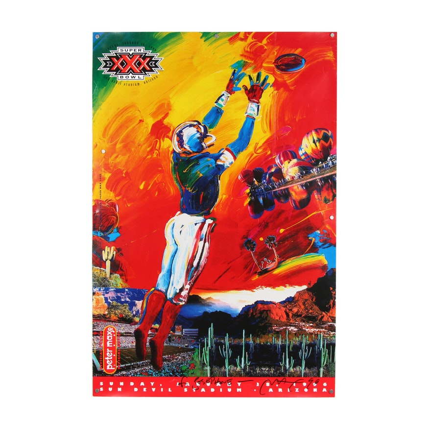 Peter Max Signed Super Bowl XXX Poster, 1996