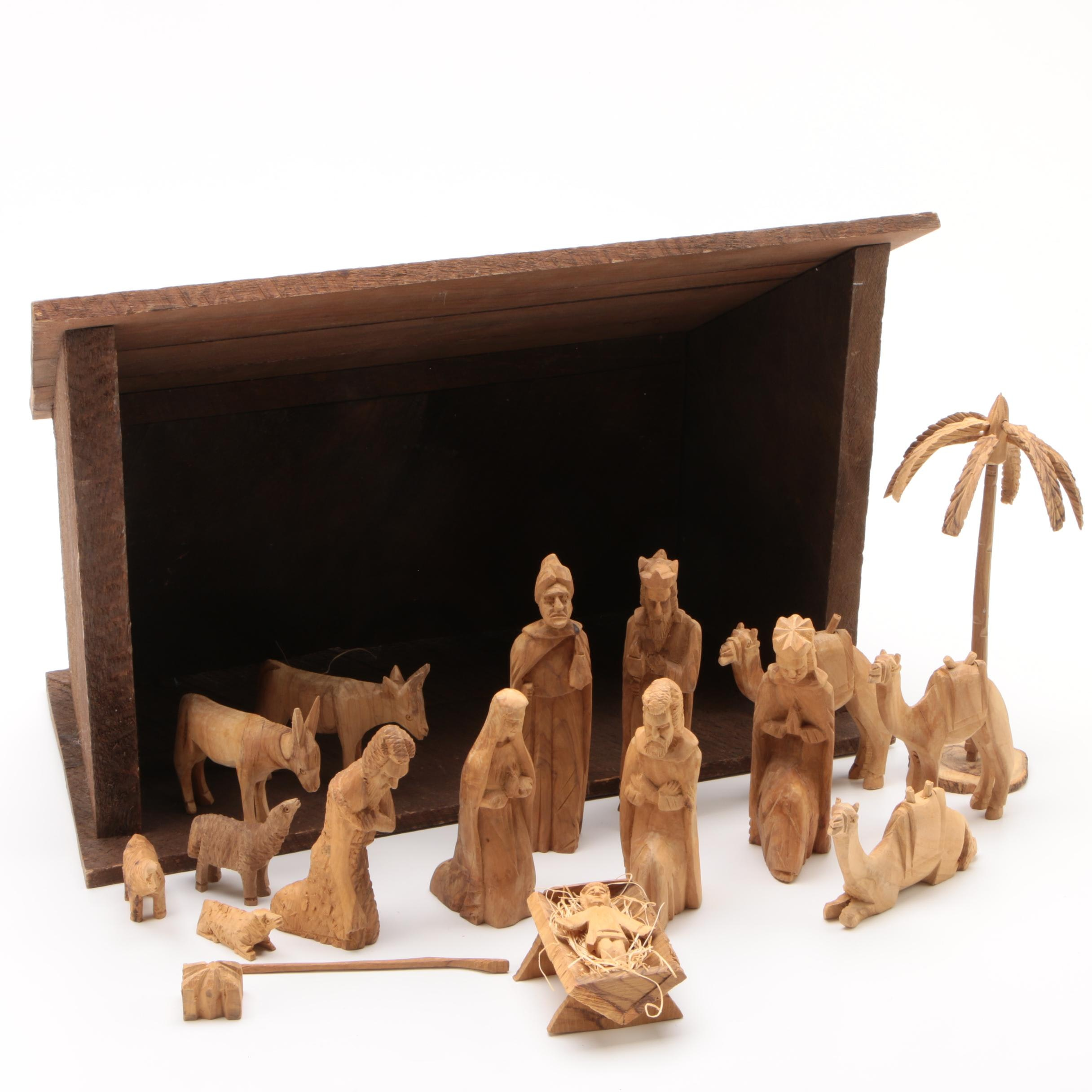 Hand Carved Olivewood Crèche Figurines with Manger