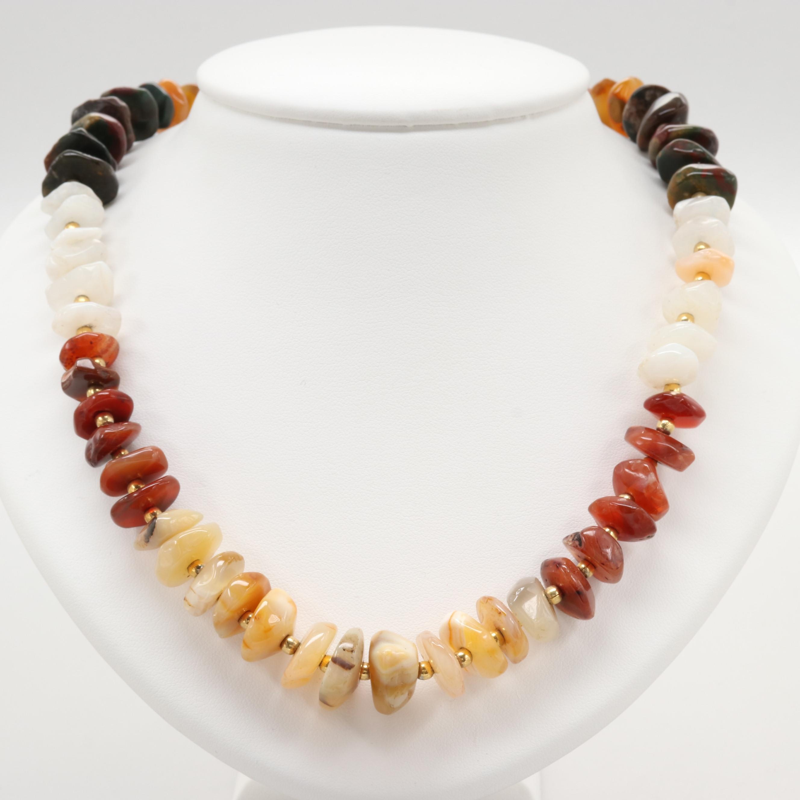 Gold Tone Amethyst, Agate and Unakite Necklace