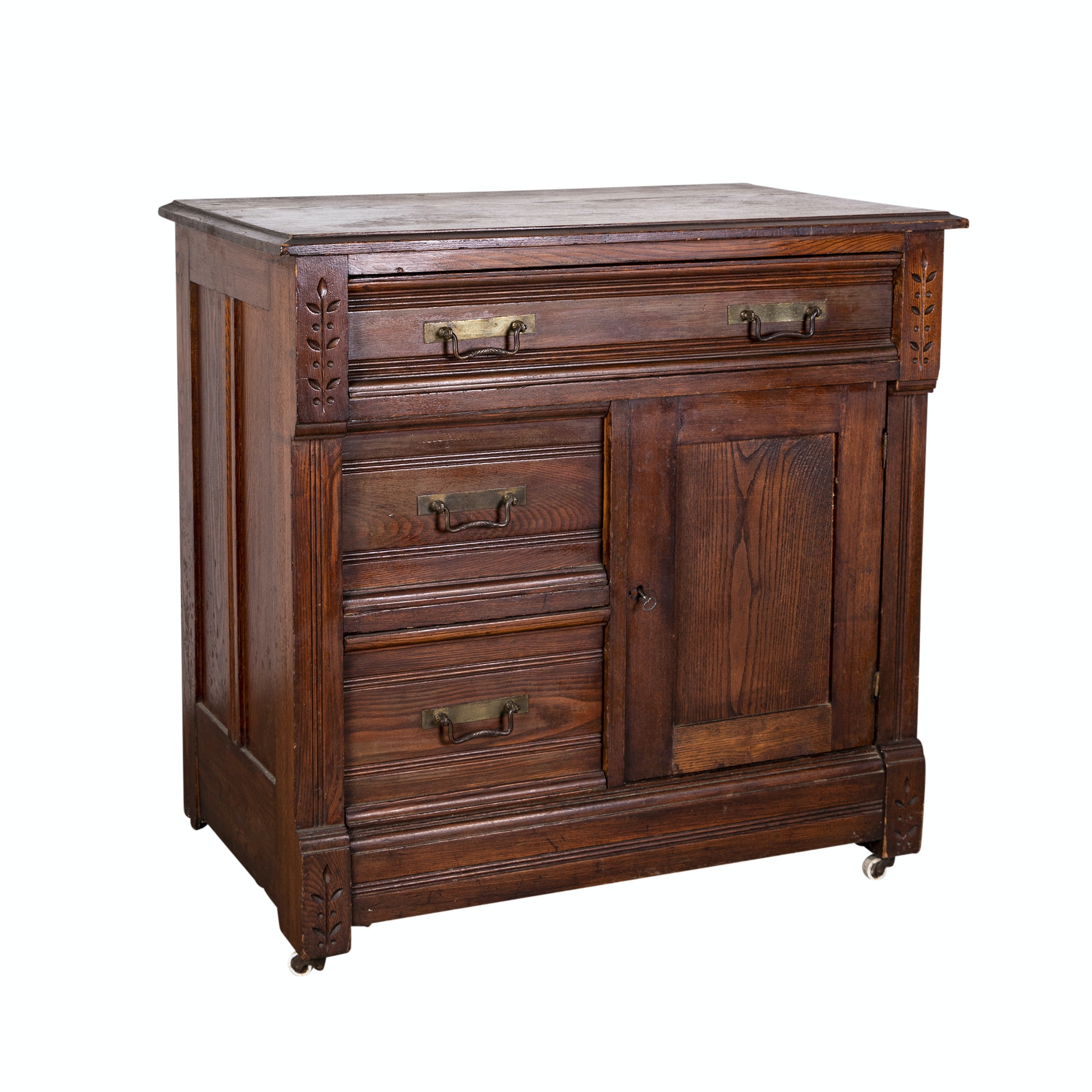 Late Victorian Oak Cabinet with Chip Carving, Circa 1900