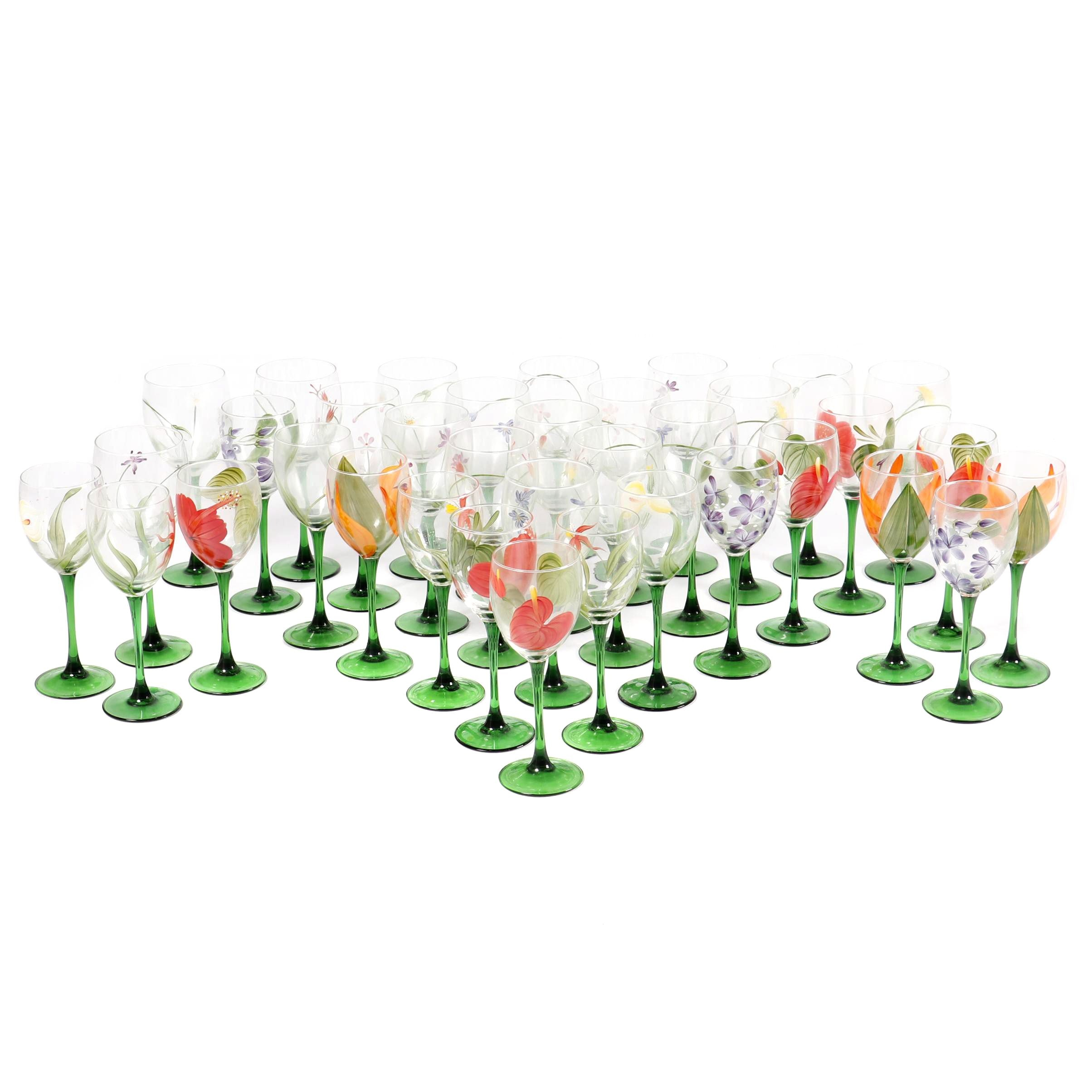Luminarc French Floral Themed Glass Stemware