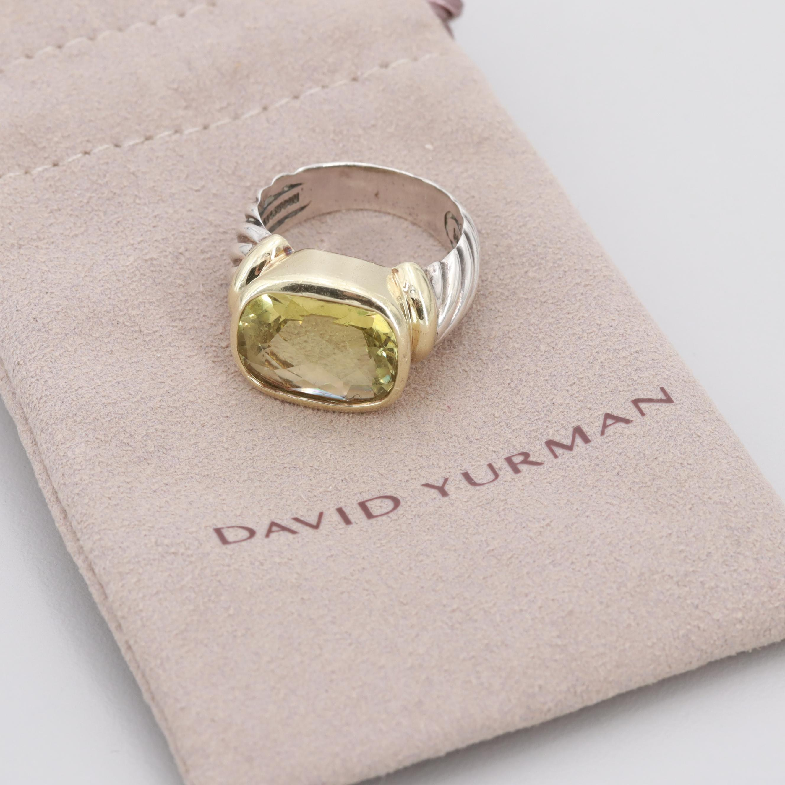 """David Yurman """"Noblesse"""" Sterling Citrine Ring with 14K Yellow Gold Accents"""