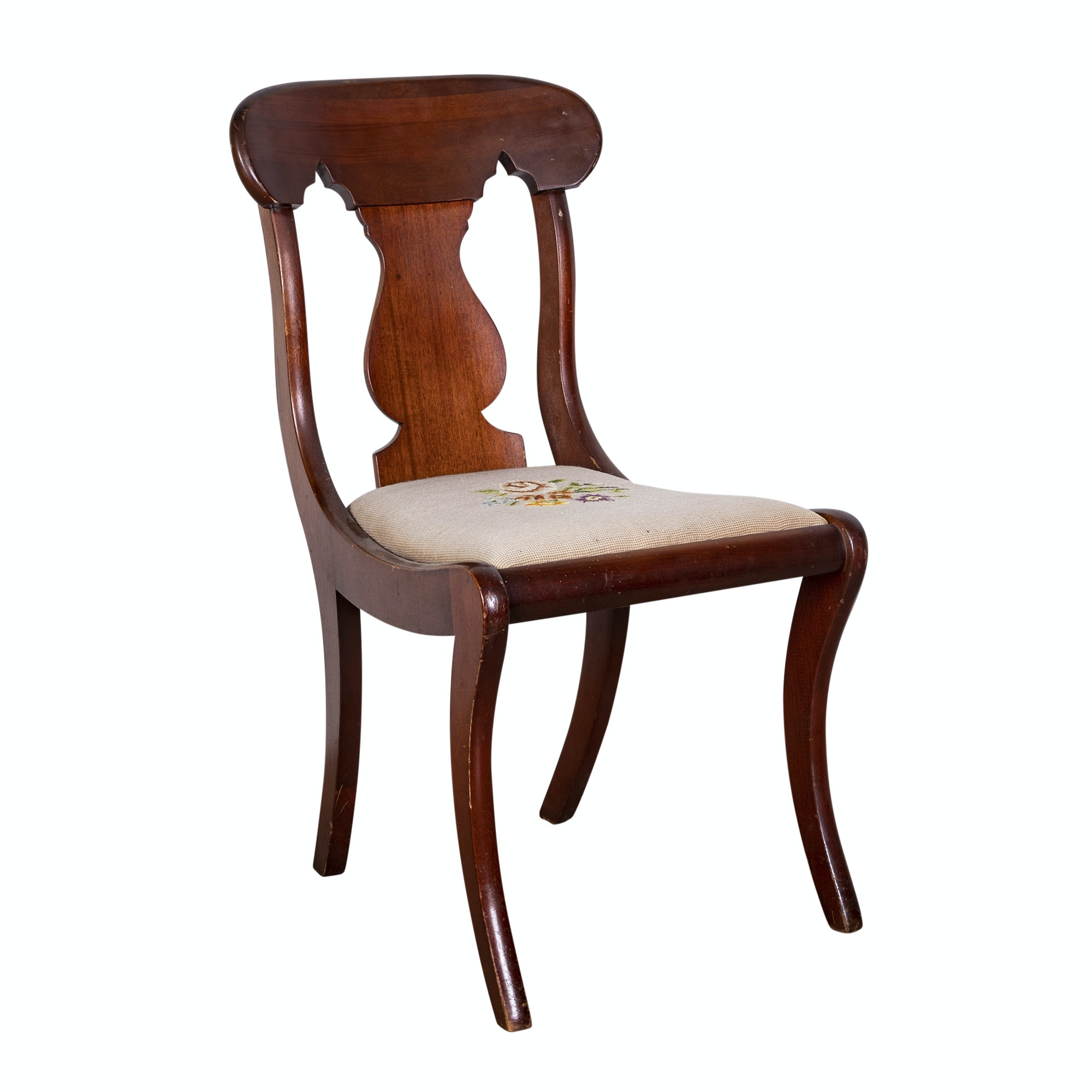 Federal Style Mahogany Vase Splat Side Chair, 20th Century