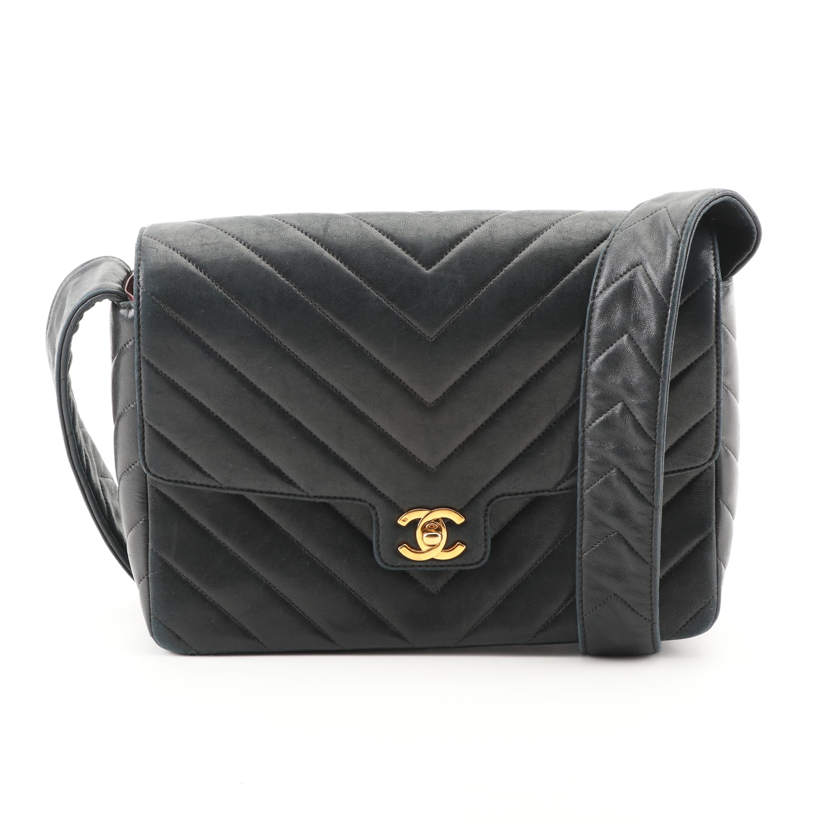 Circa 2014 Chanel Black Chevron Quilted Leather Flap Bag