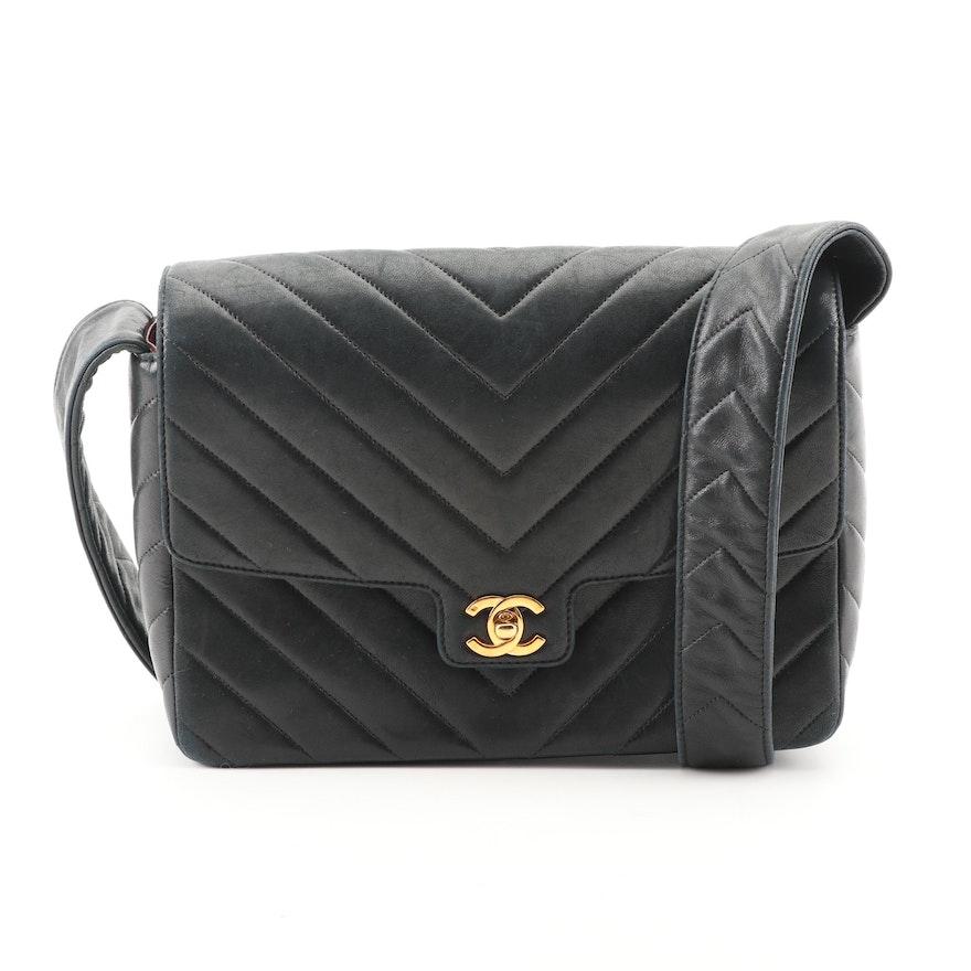 4a35acc36cdf Circa 2014 Chanel Black Chevron Quilted Leather Flap Bag : EBTH