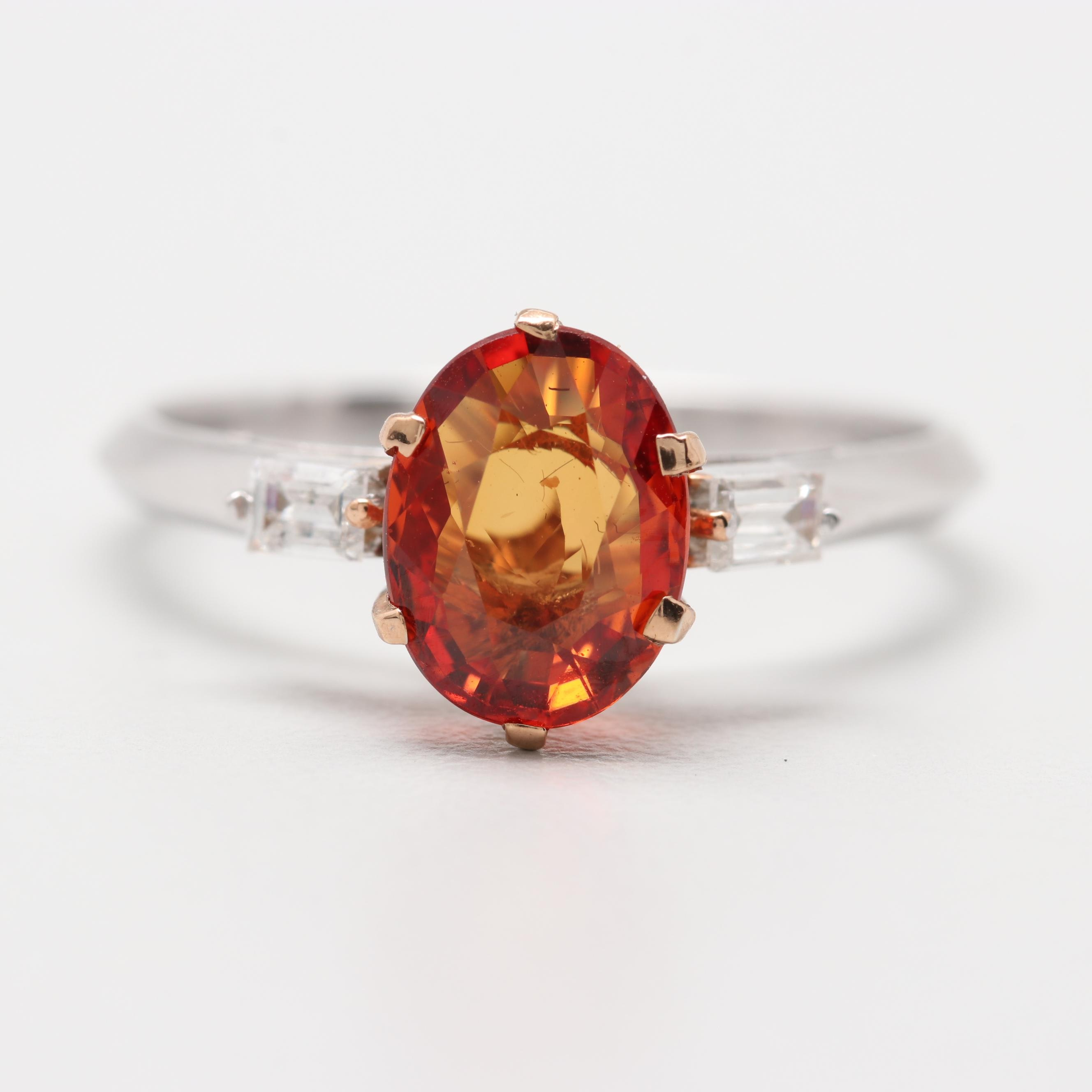 Platinum 1.64 CT Orange Sapphire and Diamond Ring
