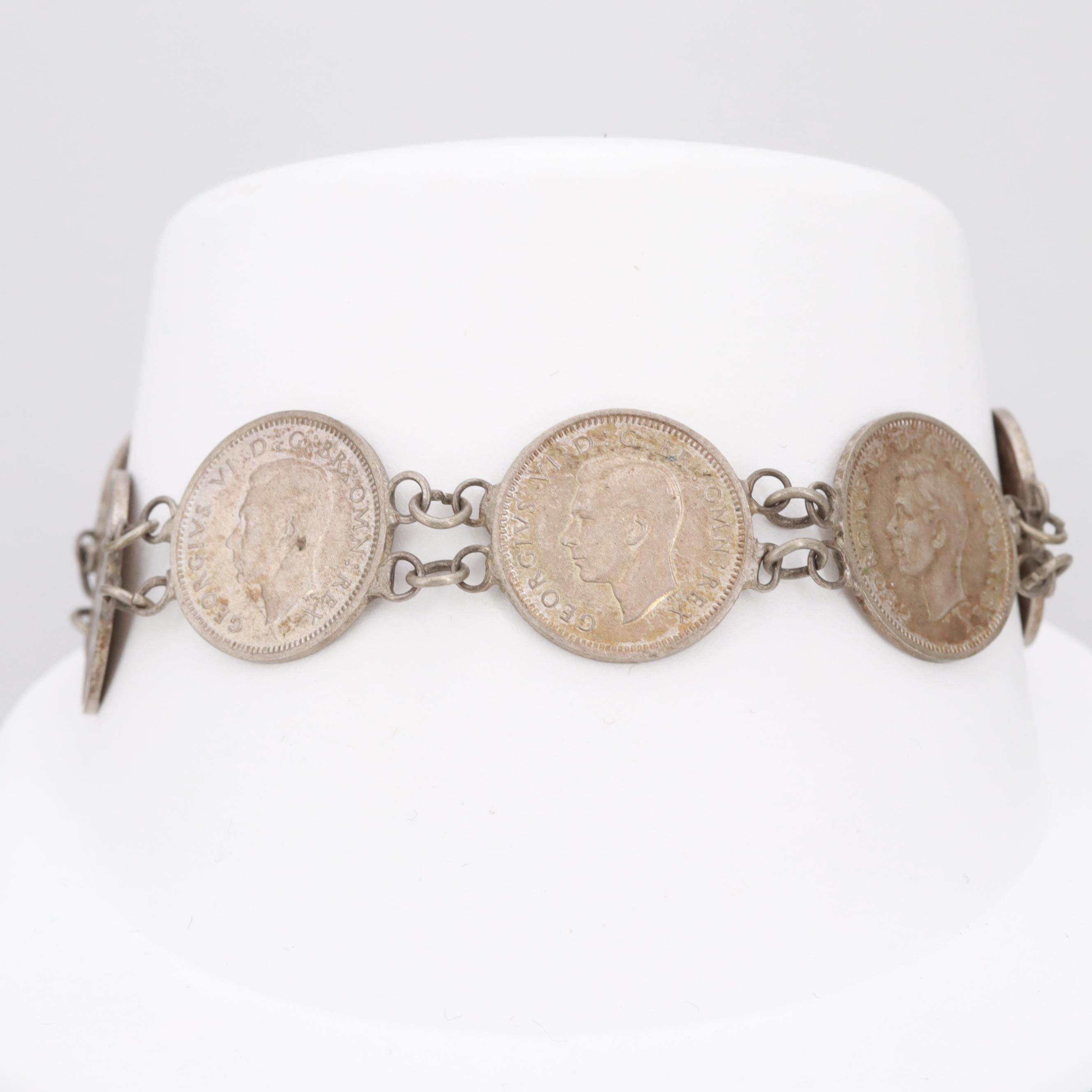 800 Silver Bracelet with Circa 1942 Great Britain Silver Three Pence Coins