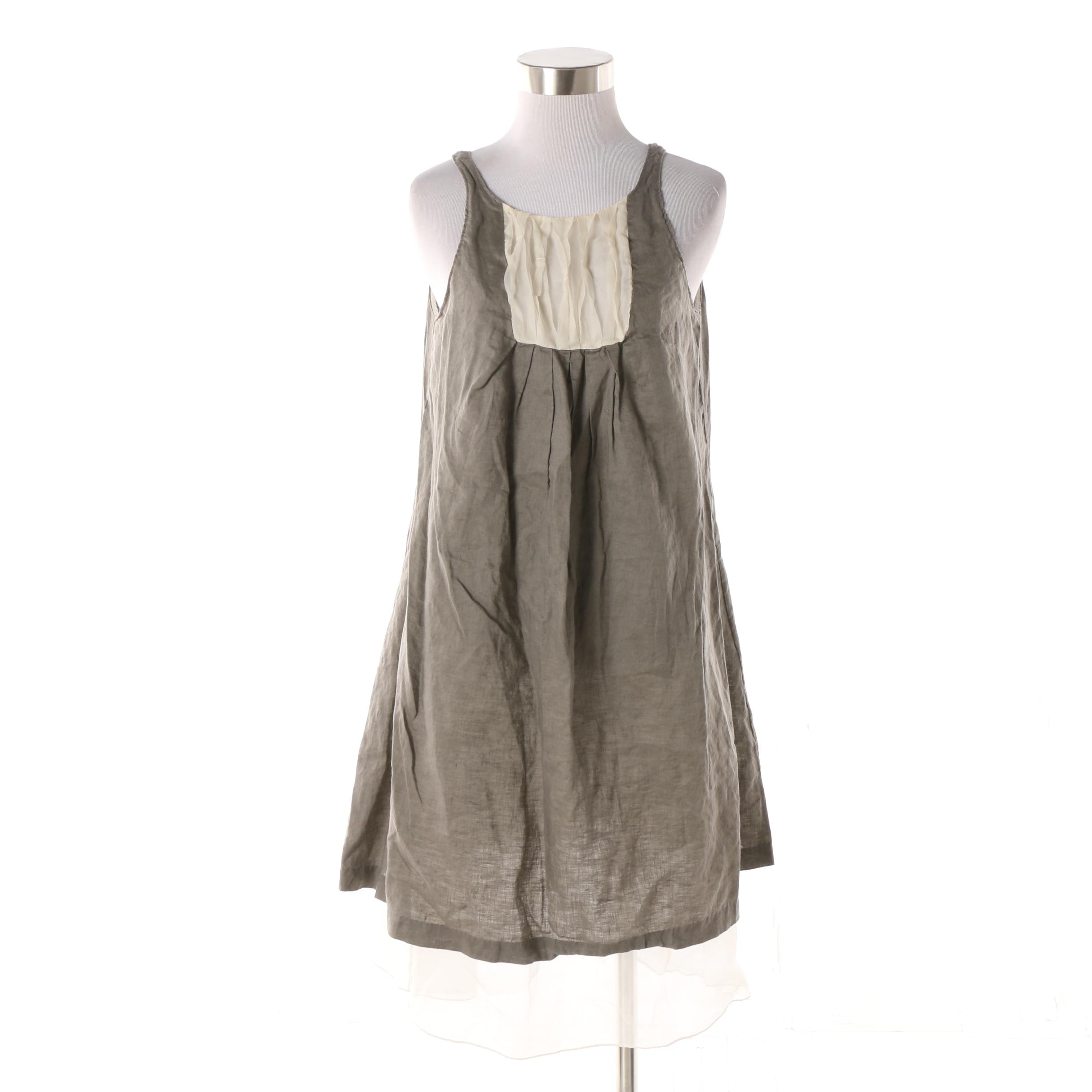 Bensoni Grey Linen and White Silk Sleeveless Shift Dress