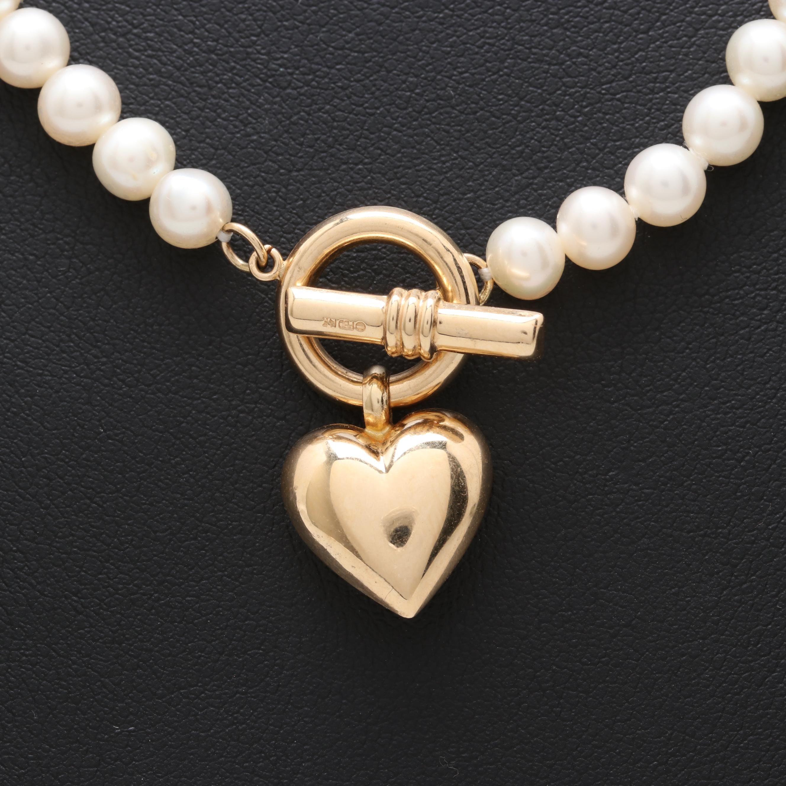 14K Yellow Gold Cultured Pearl Toggle Necklace with Heart Charm