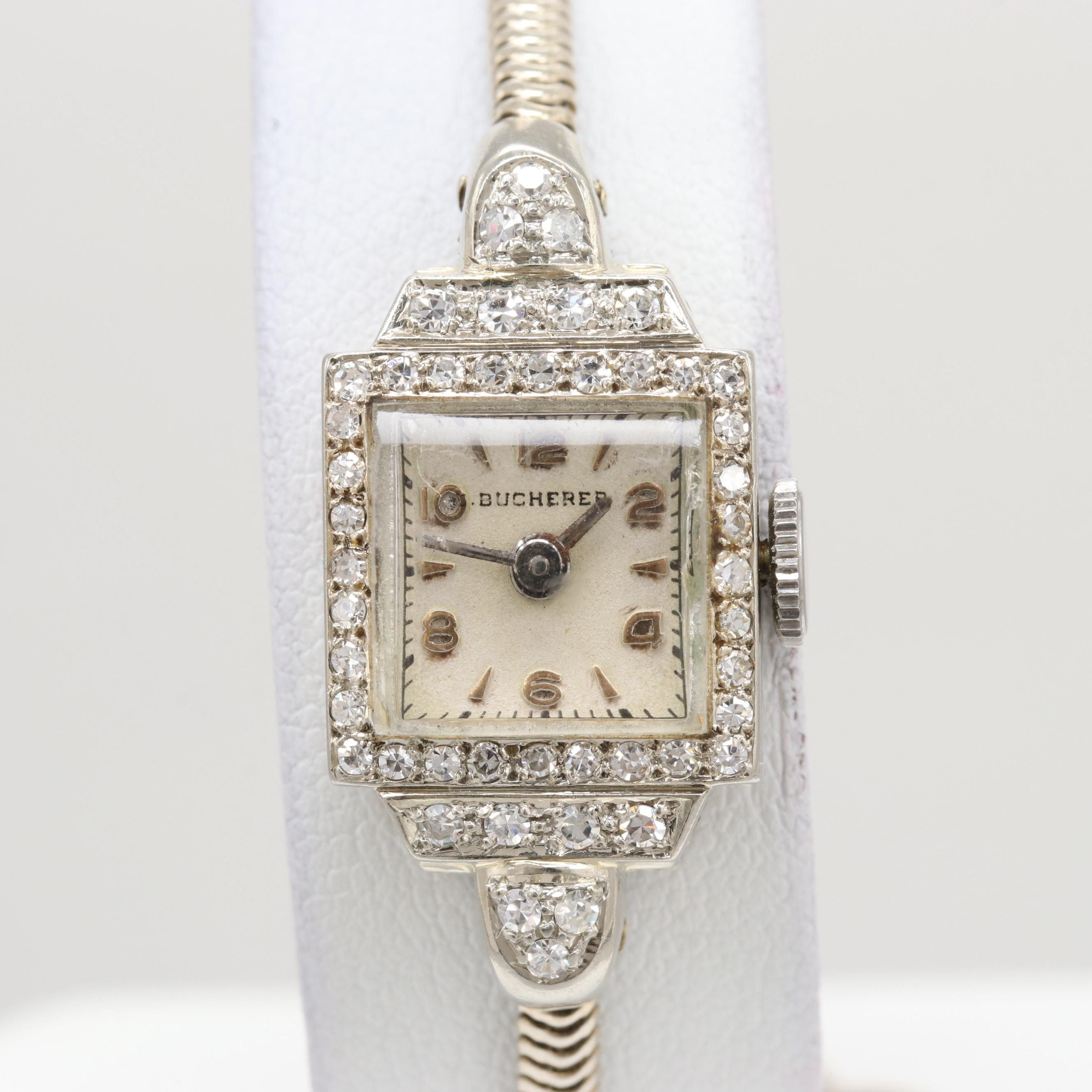 Bucherer 18K White Gold Diamond Wristwatch