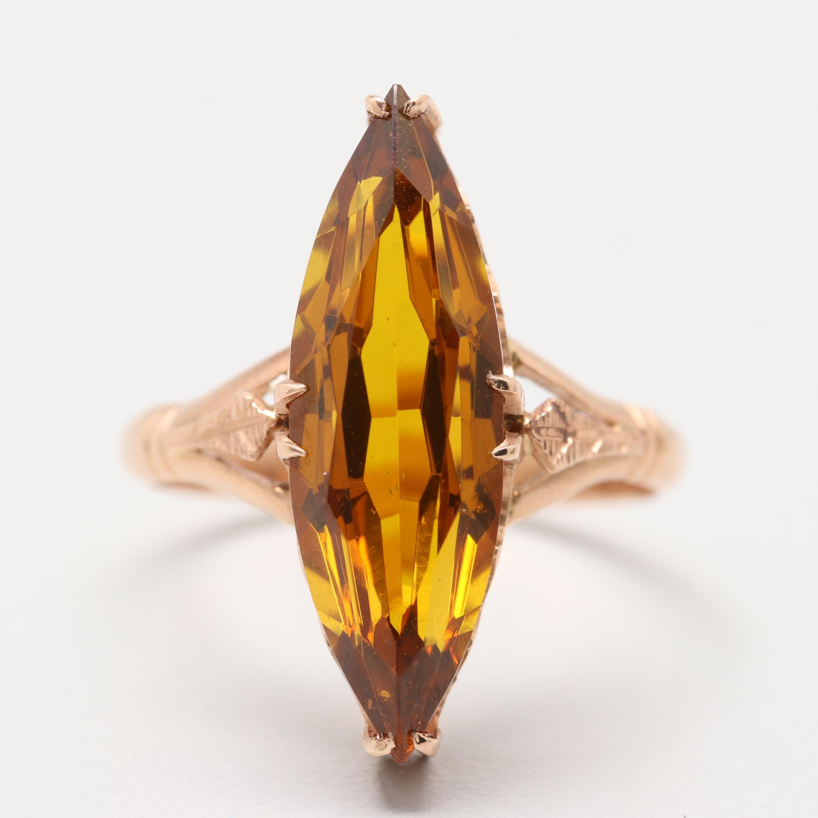 Soviet Era Russian 14K Rose Gold Synthetic Yellow Sapphire Navette Ring