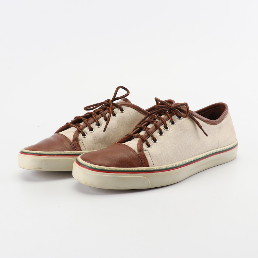 e86616e10 Men's Gucci GG Canvas and Leather Boating Shoes : EBTH