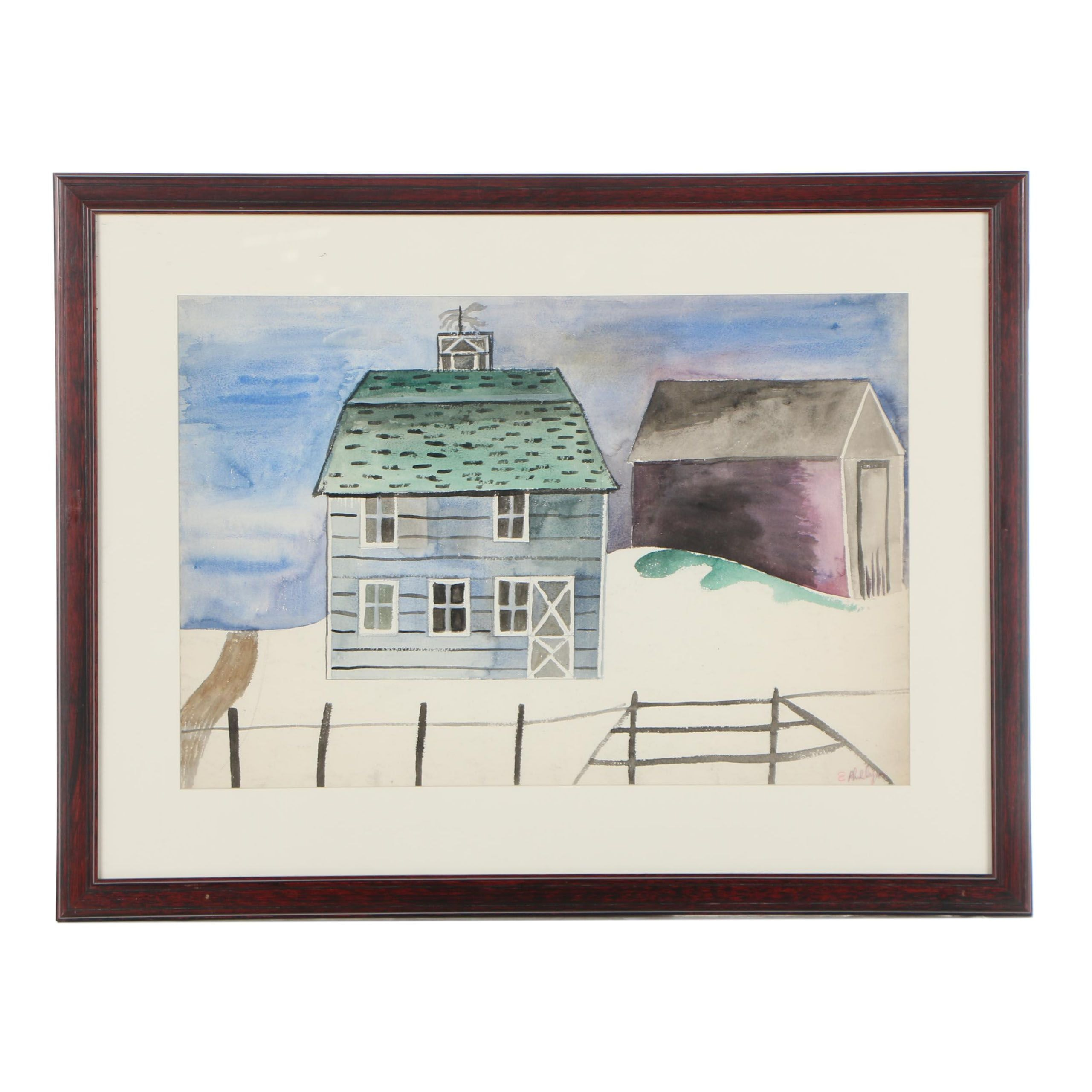 Esther Phillips Watercolor Painting of a Farm Scene