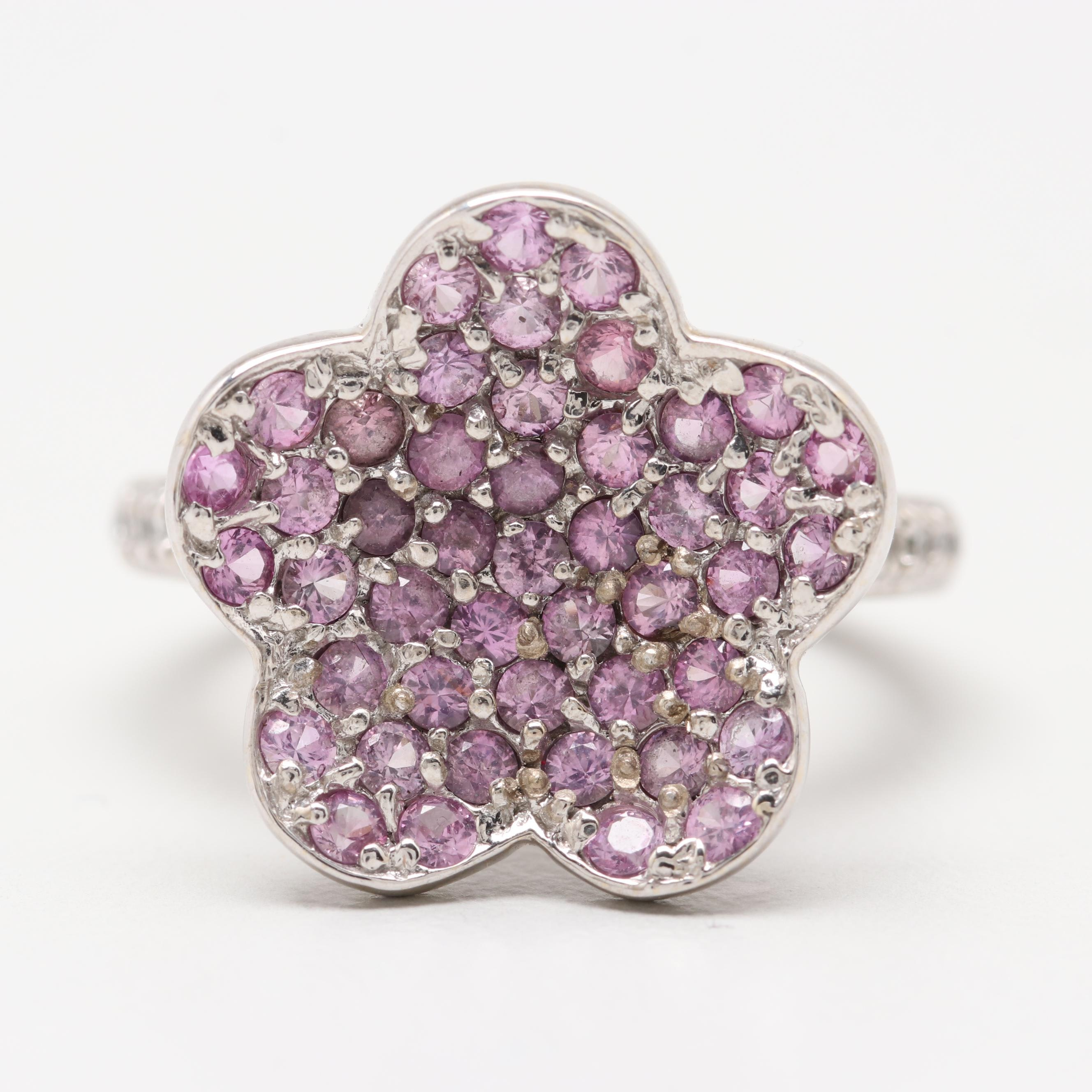 18K White Gold Pink Sapphire and Diamond Flower Motif Ring