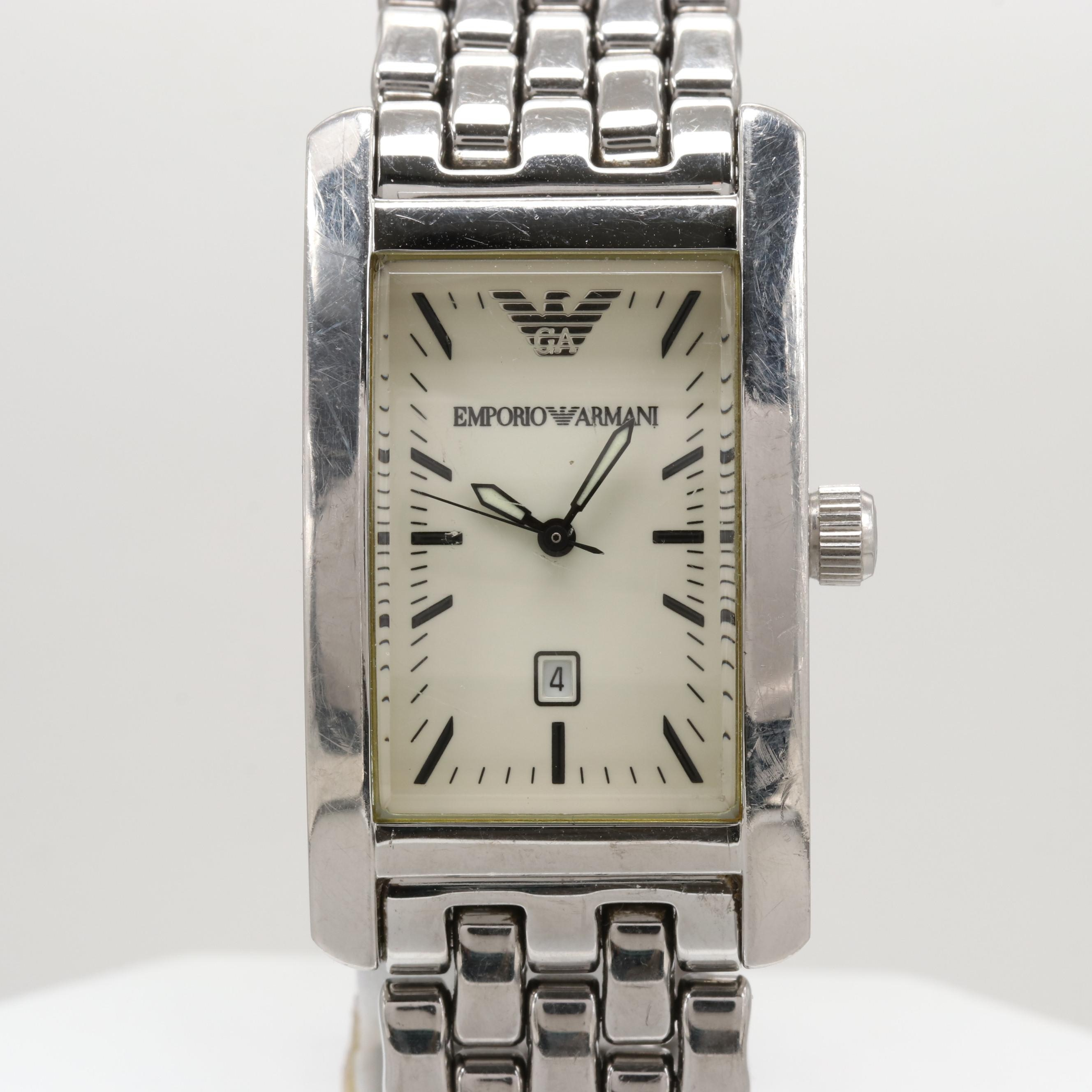 Emporio Armani Stainless Steel Wristwatch With Date Window