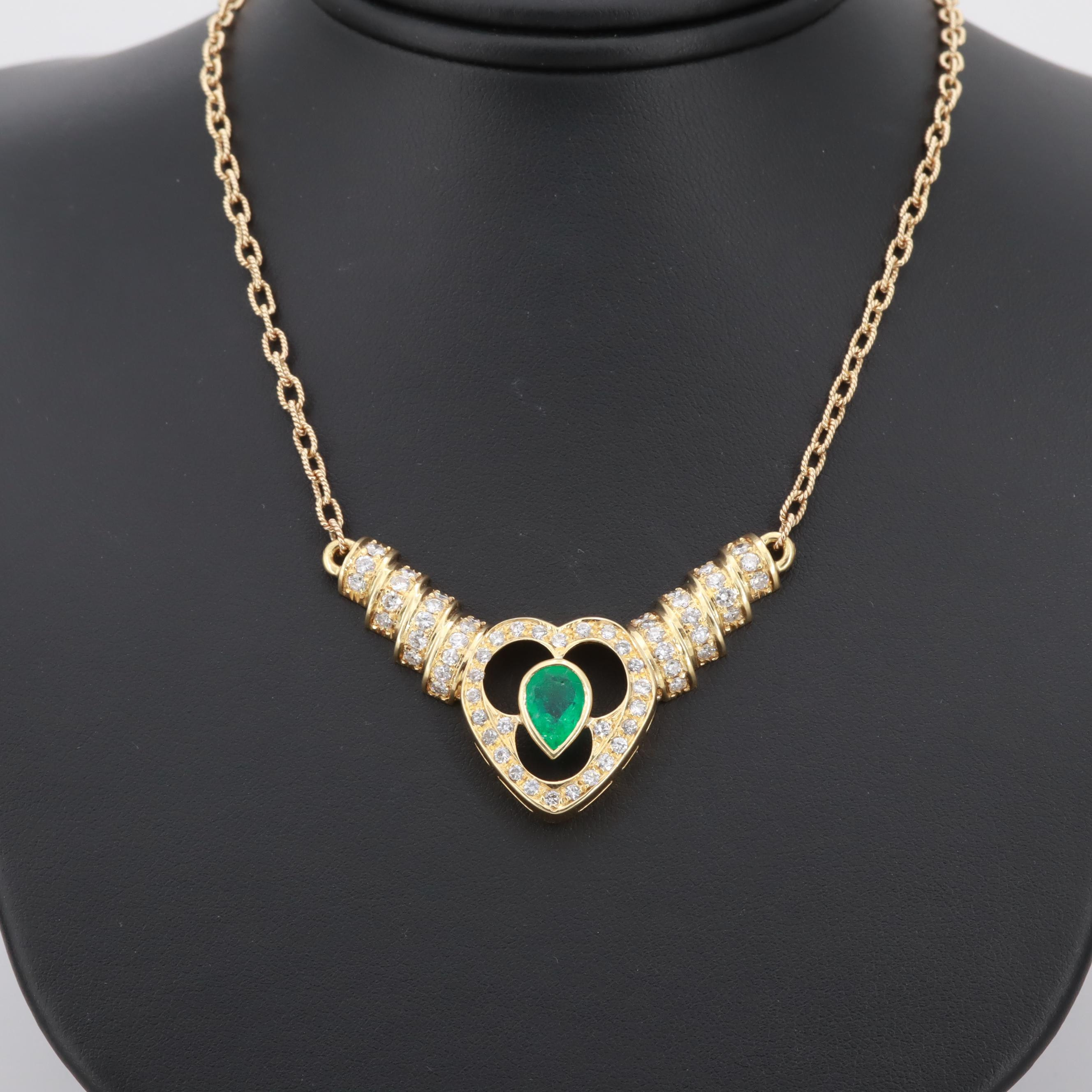 14K and 18K Yellow Gold 1.32 CT Emerald and 1.79 CTW Diamond Heart Necklace