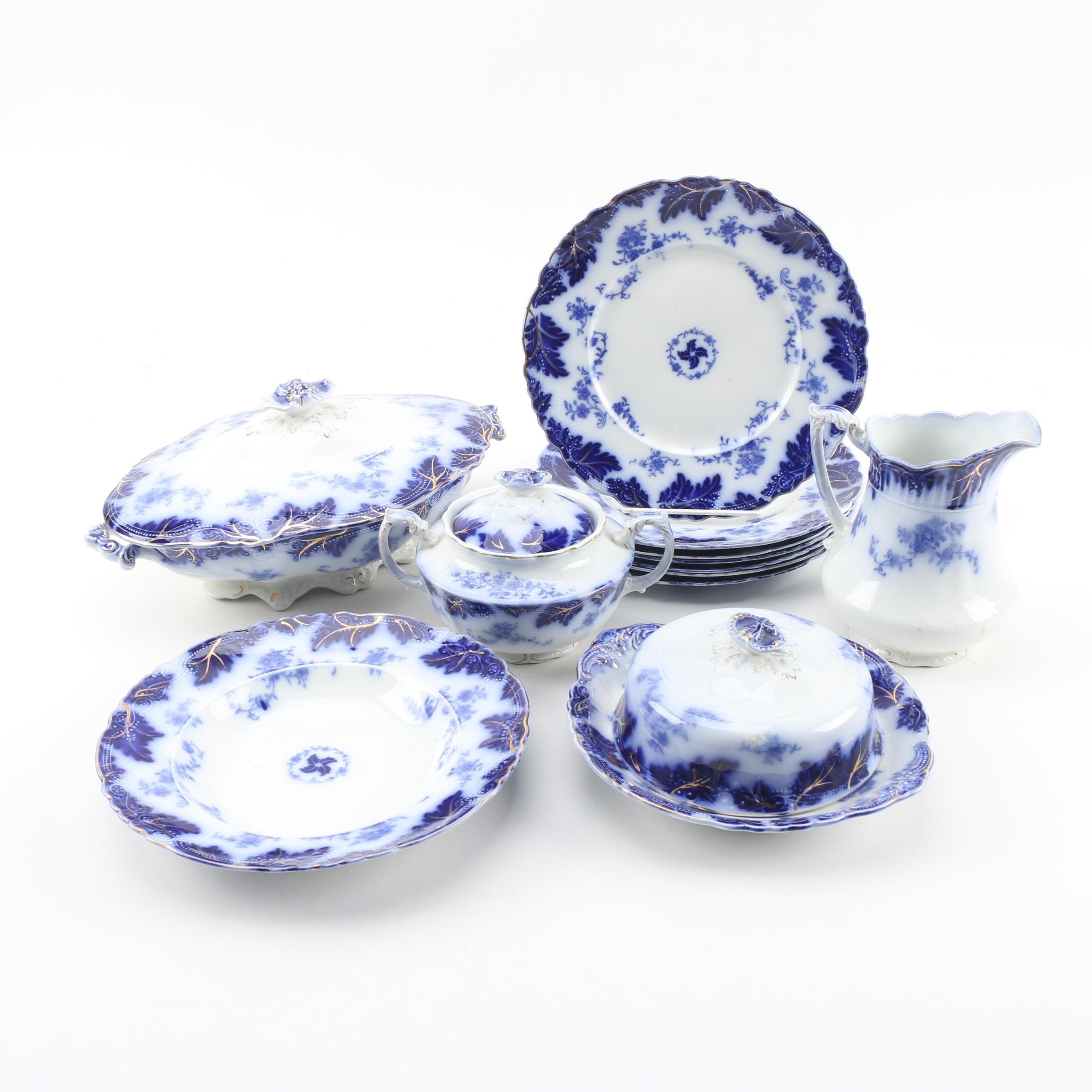 """W.H. Grindley & Co. """"Brazil"""" Flow Blue Transfer Dinnerware, c.1891 - 1914"""