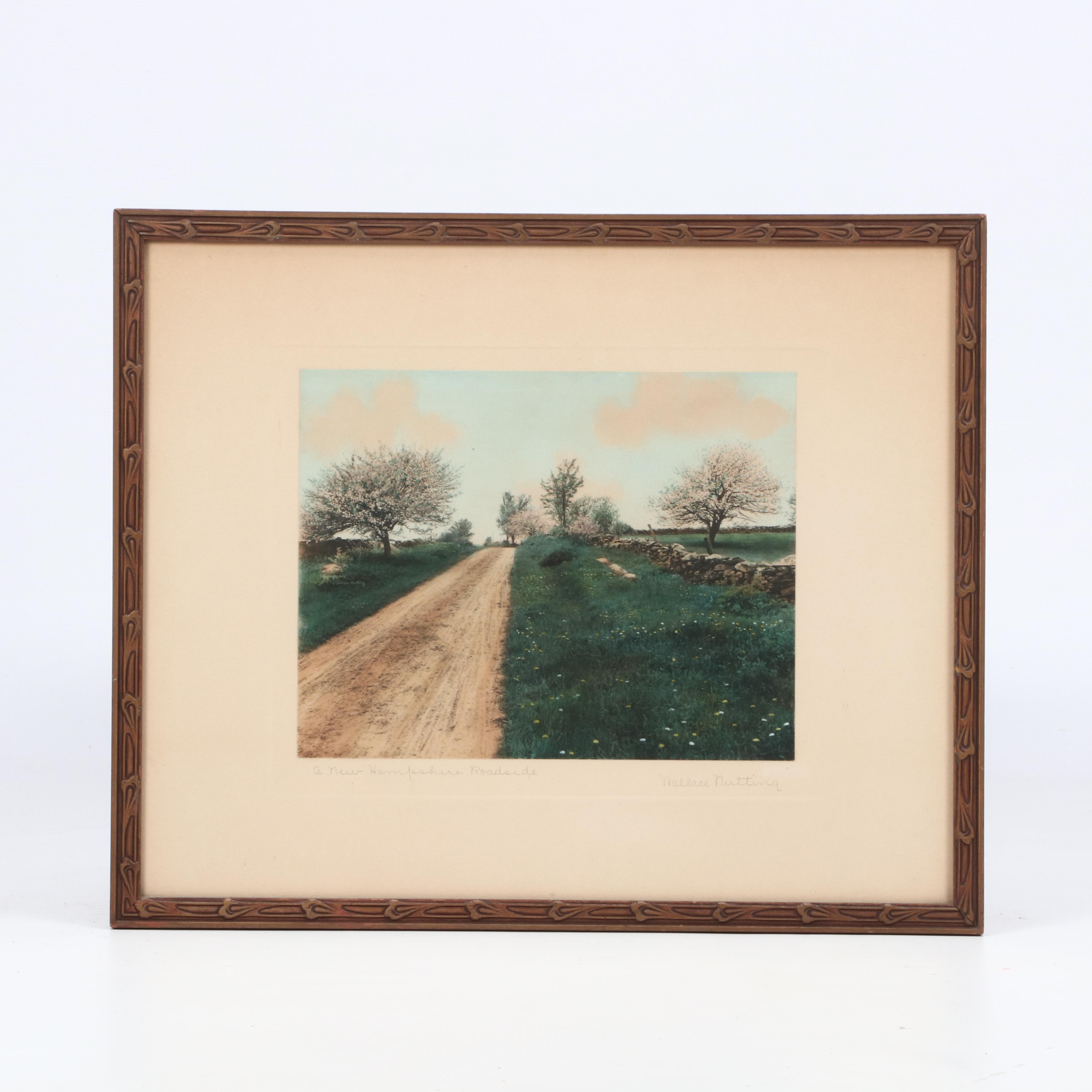 """Wallace Nutting Hand-Colored Photograph """"A New Hampshire Roadside"""""""