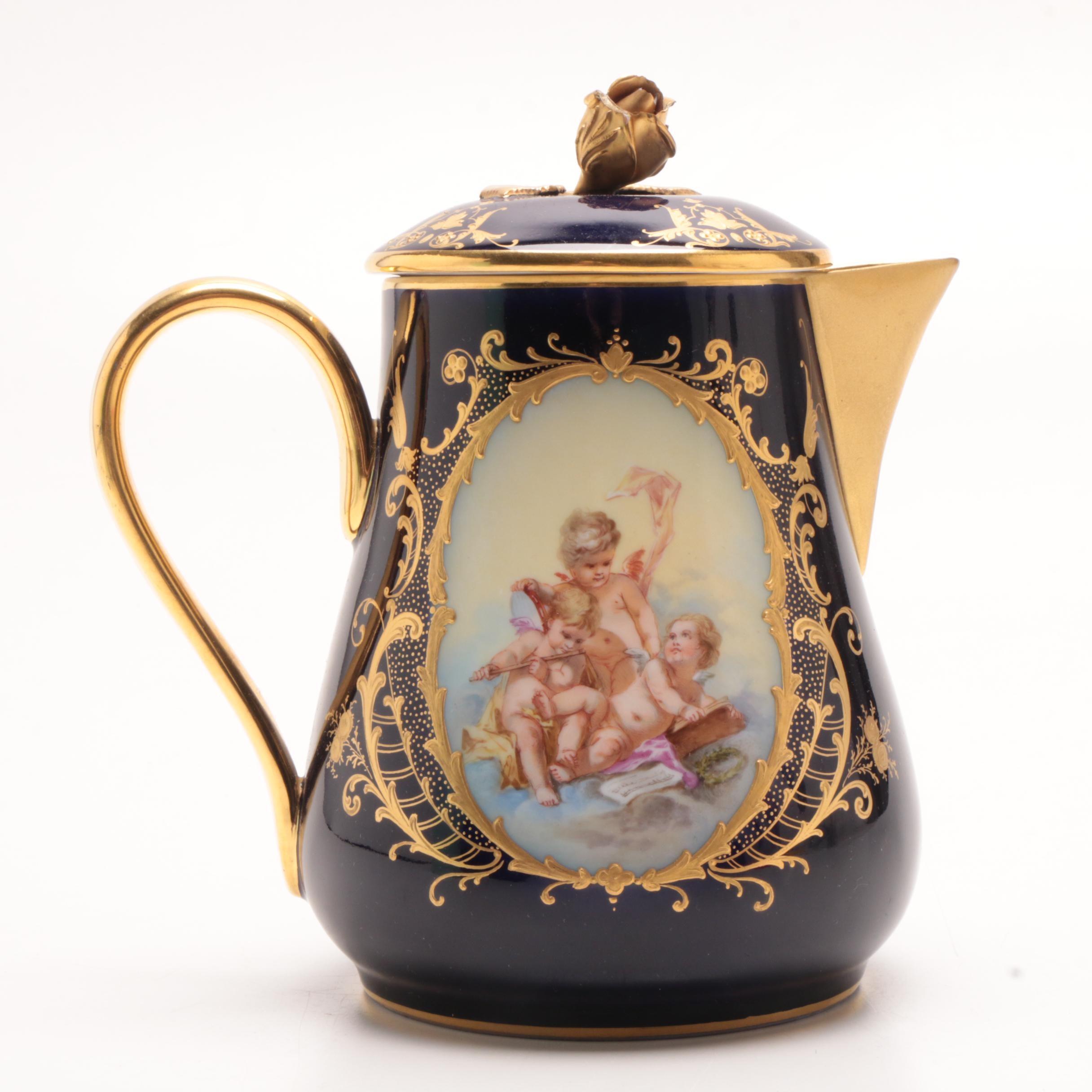 A.R Dresden Porcelain Gilt Hot Water Jug