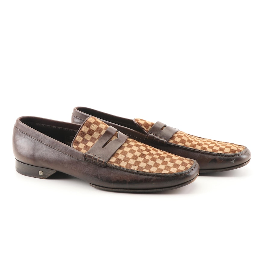 623e0fa46c6 Men s Louis Vuitton Damier Sauvage Pony Hair and Leather Loafers   EBTH