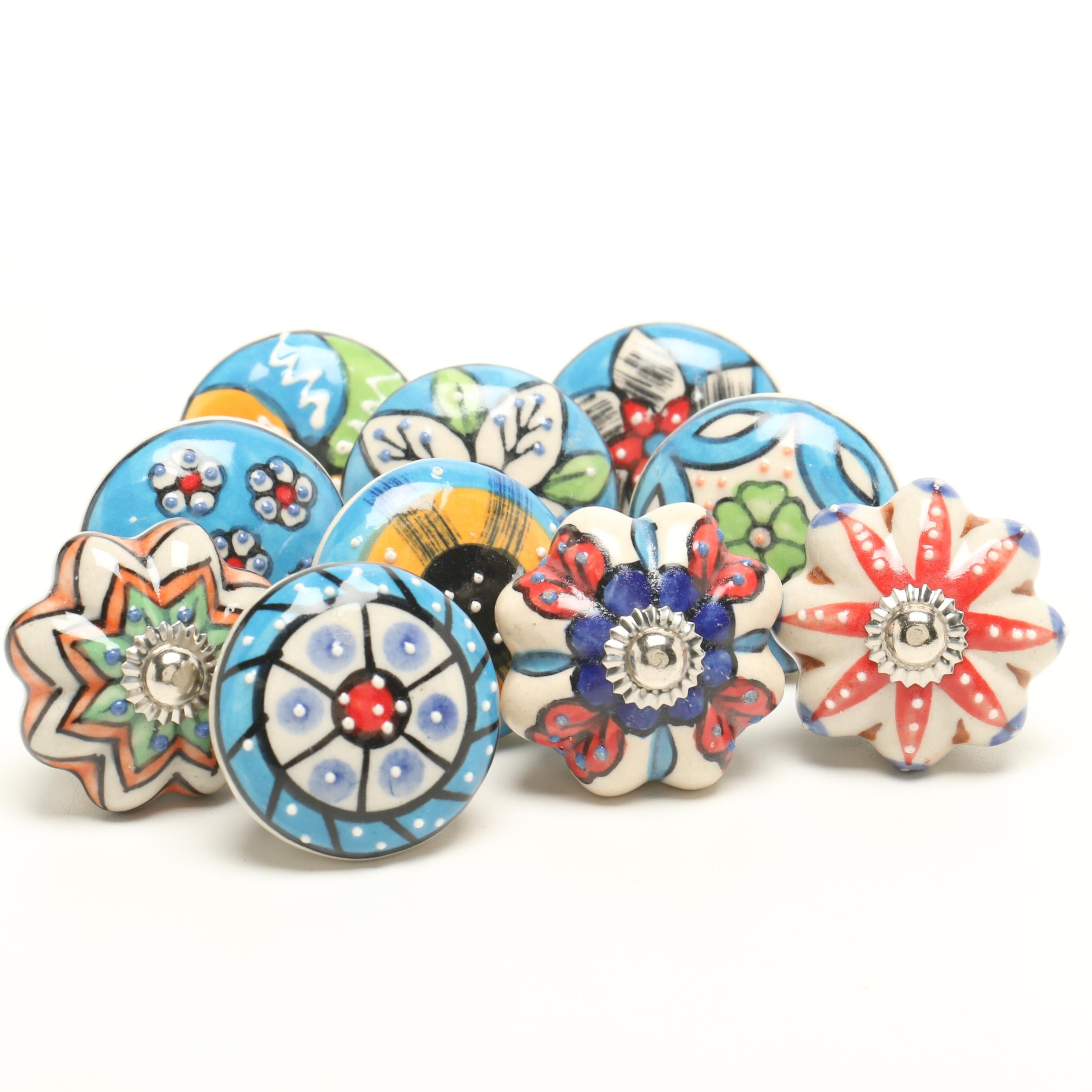 Hand-Painted Porcelain Drawer Pulls