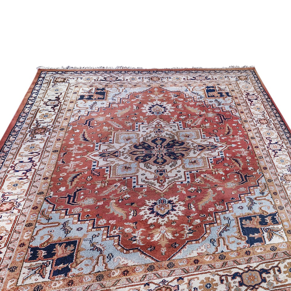 """Hand-Knotted Indian """"Heriz"""" Room Sized Rug"""