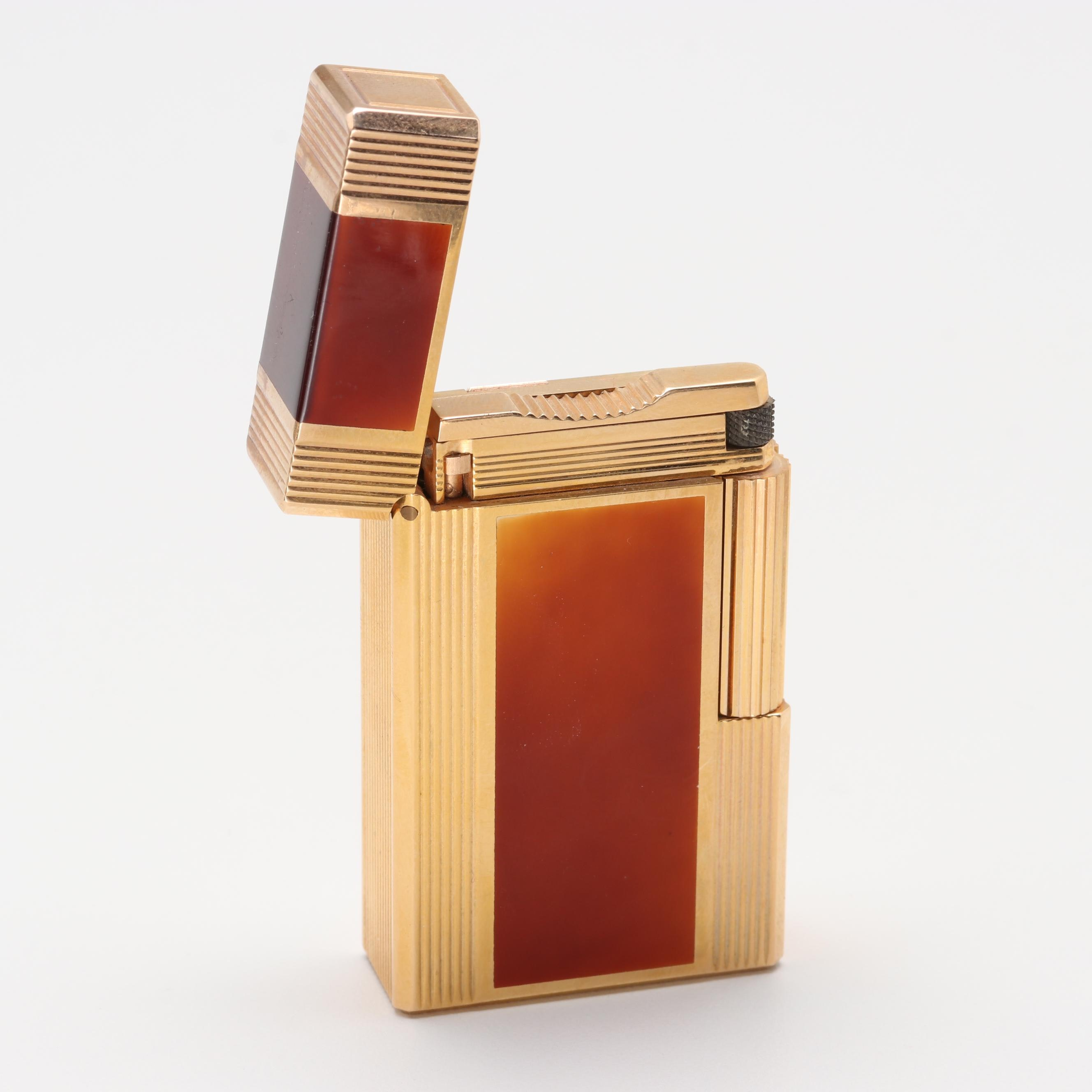 S. T. Dupont Gold Tone Laque de Chine Enamel Lighter with Box and Paperwork