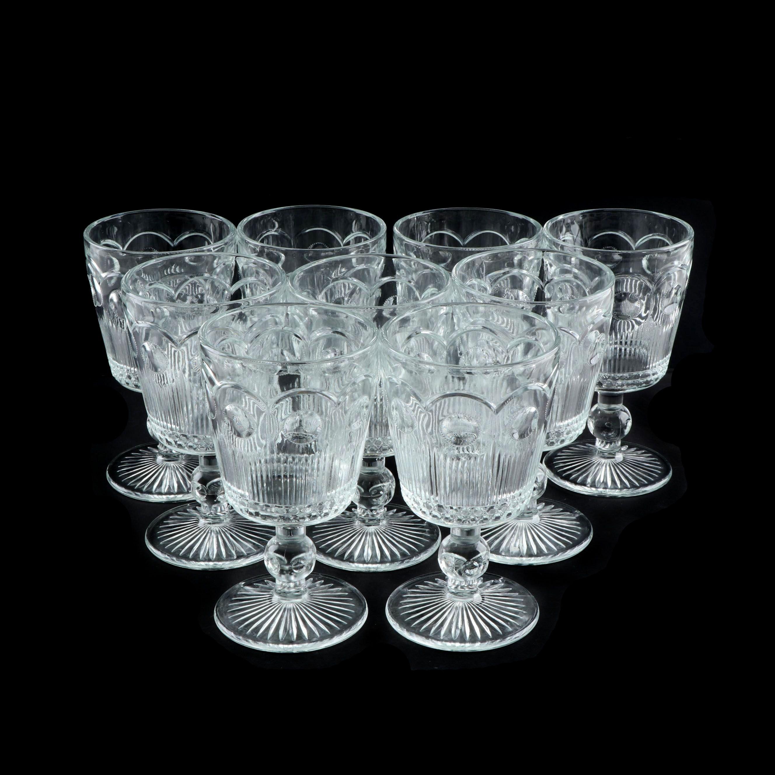 "Bartlett Collins ""Manhattan Clear"" Pressed Glass Water Goblets"