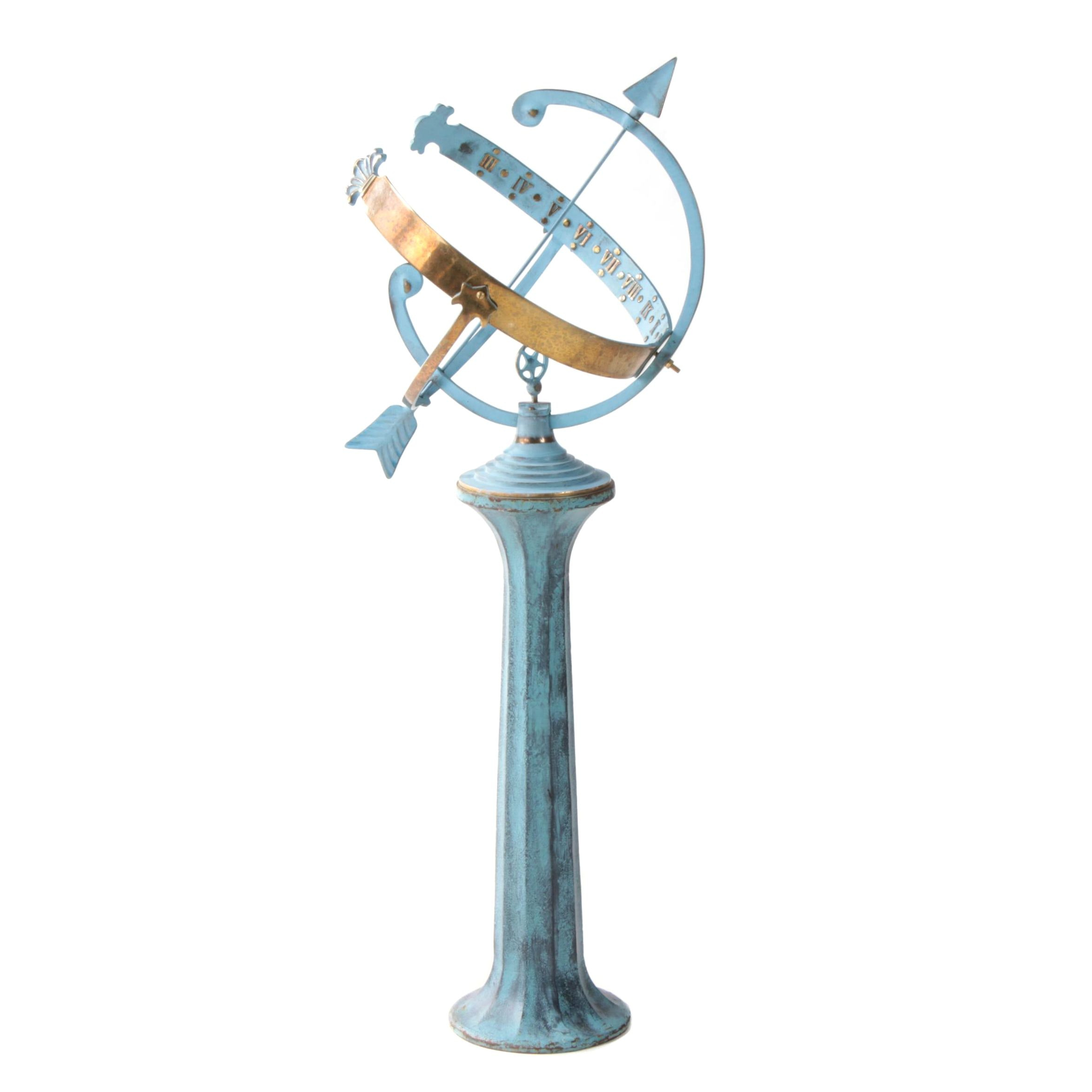 Painted Cast Iron Garden Armillary Sphere with Brass Accents