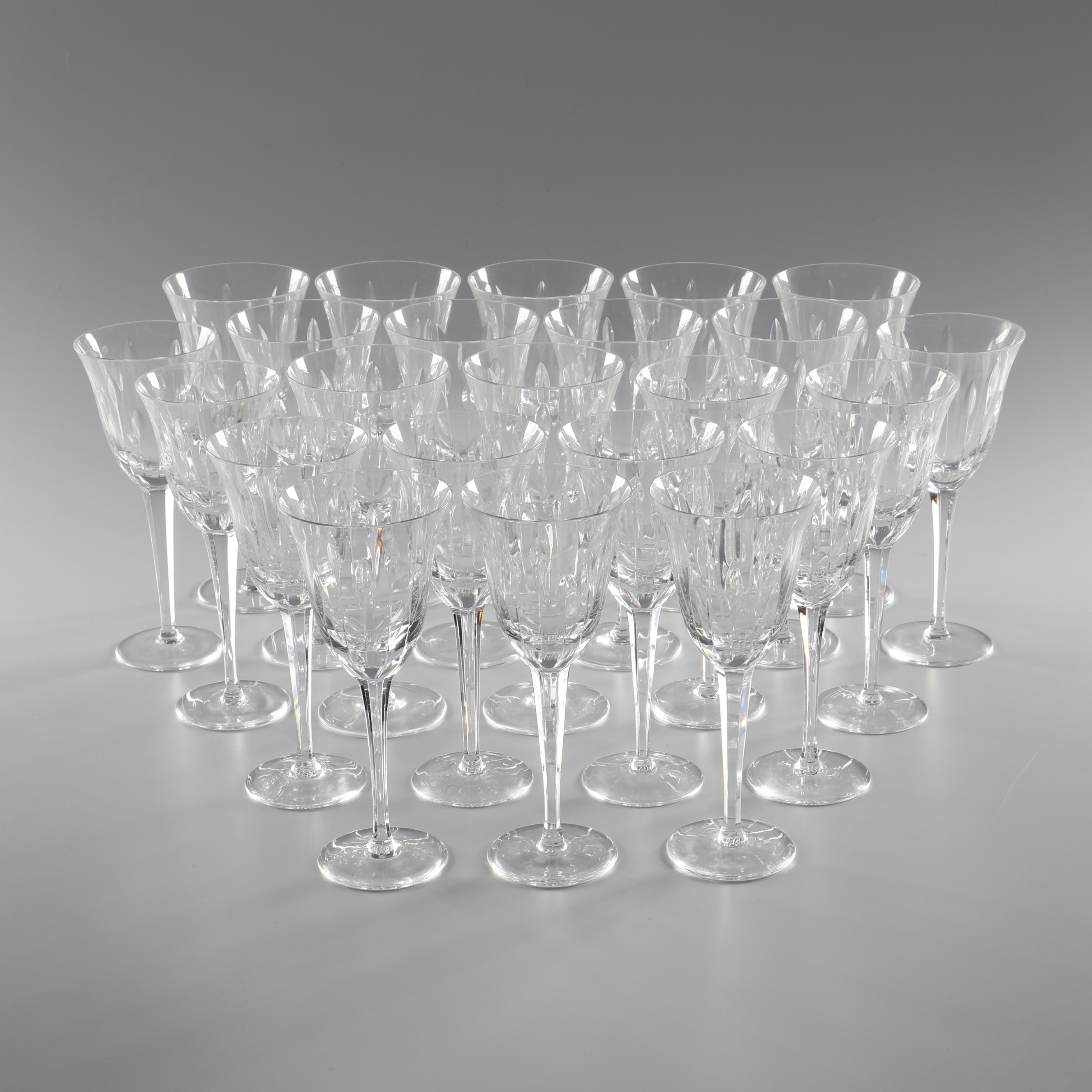 Cut Crystal Cordial and Wine Glasses