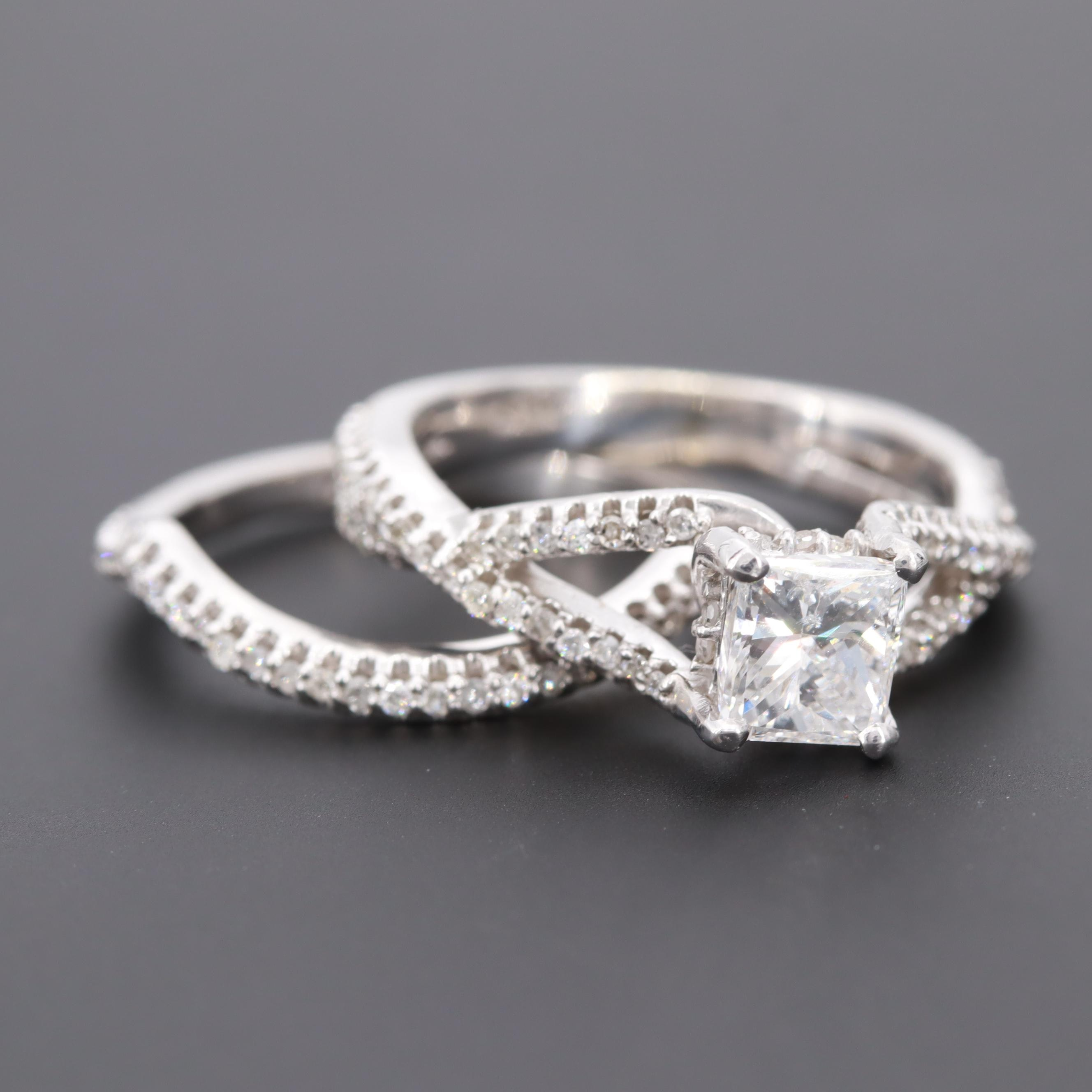 14K White Gold 1.48 CTW Diamond Ring and Shadow Band