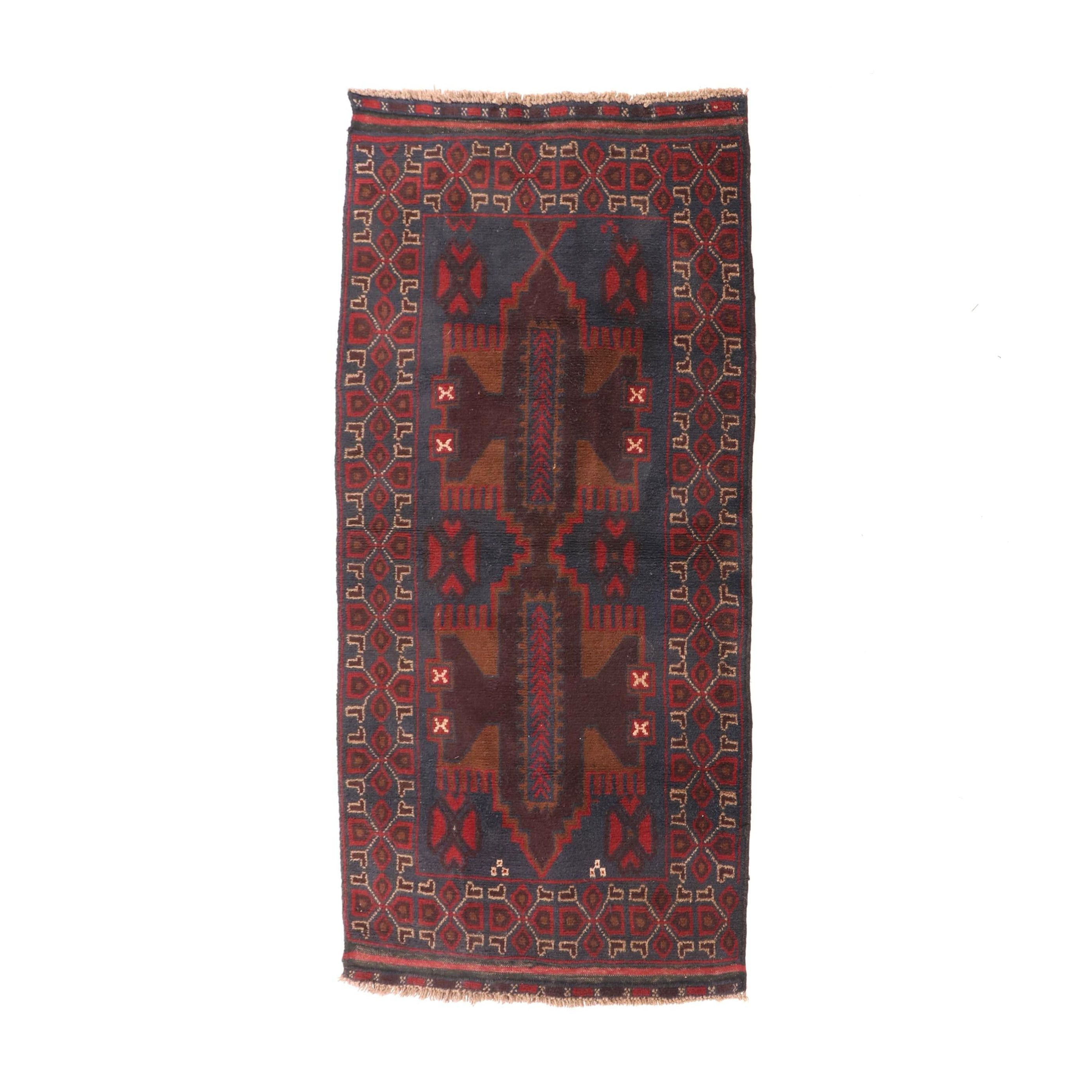Hand-Knotted Afghani Bahor Wool Long Rug