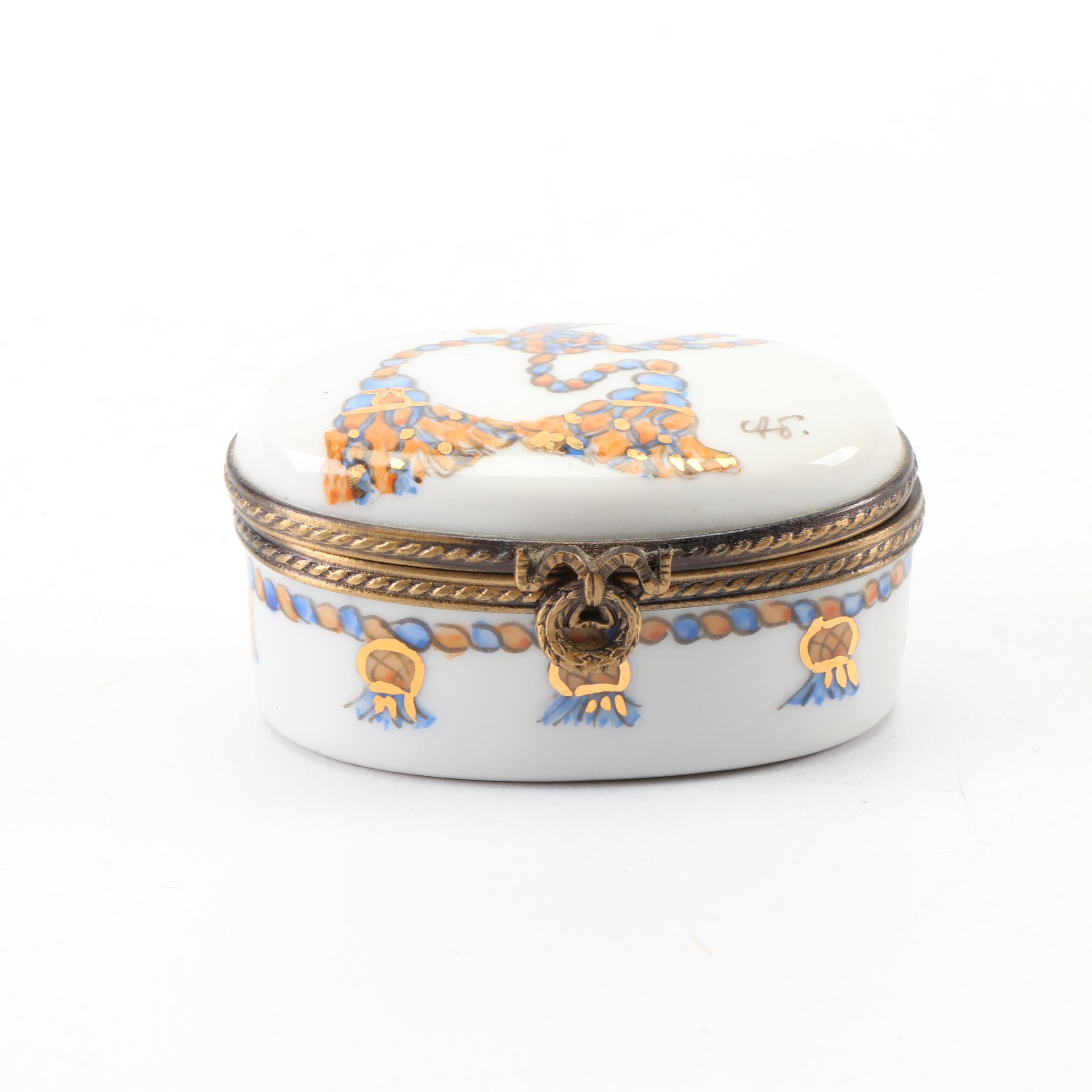 Limoges Hand-Painted Porcelain Trinket Box