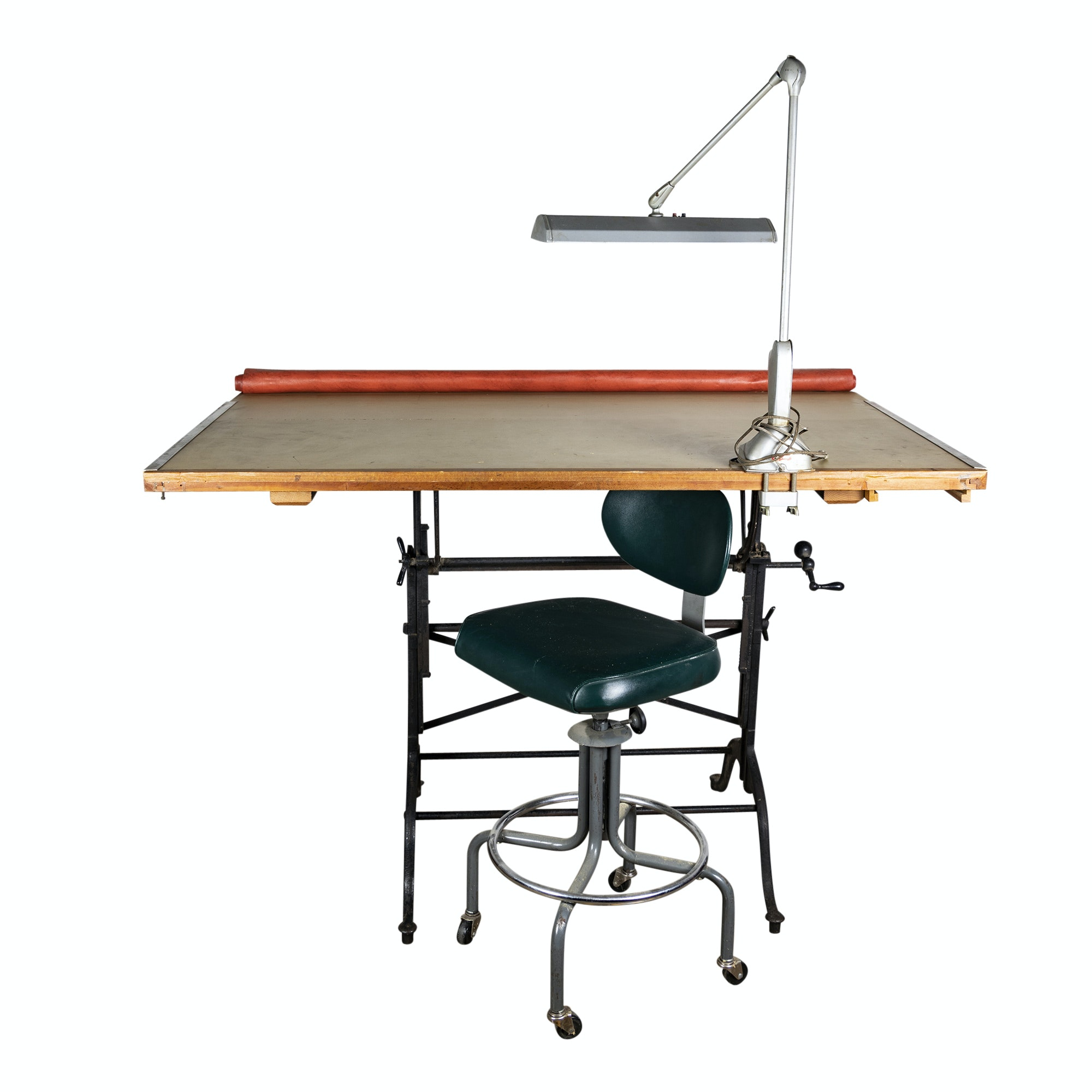 Metal and Wood Drafting Table with Royal Metal Stool and Magic Arm Lamp, 20th C.