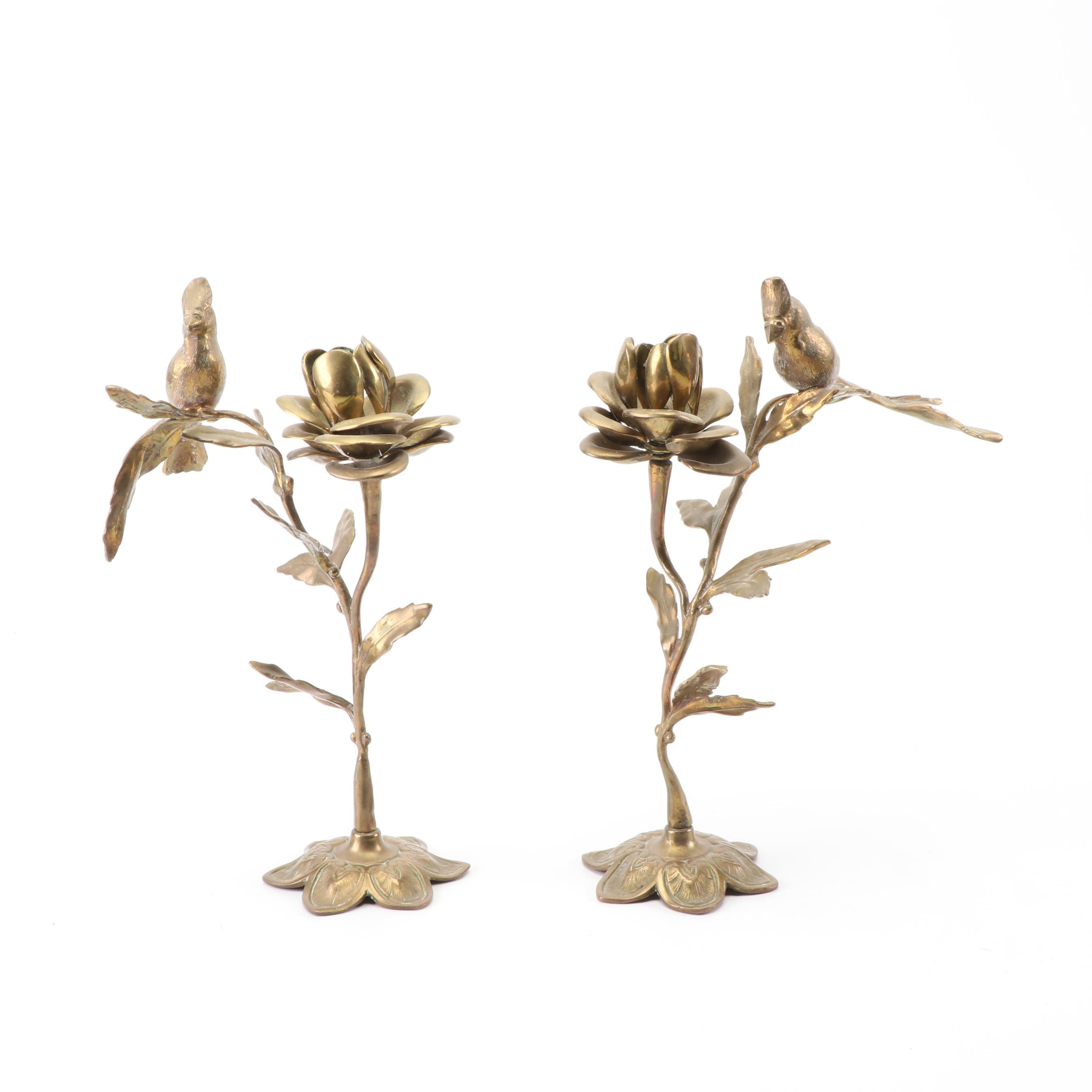 Arts and Crafts Style Brass Figural Candlesticks