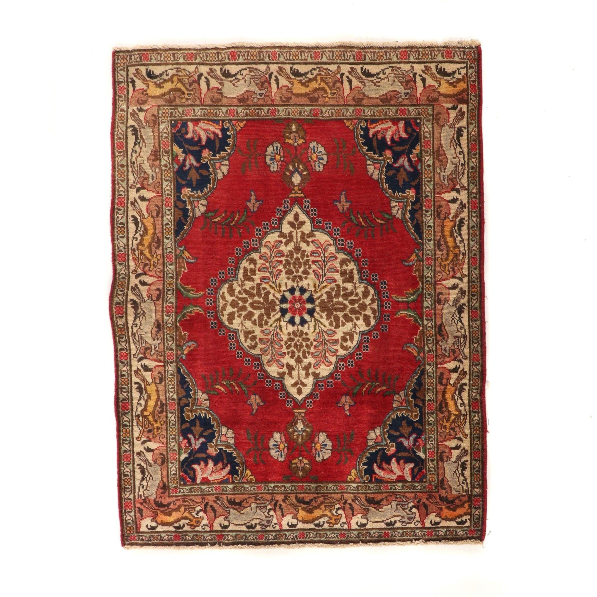 Hand-Knotted Indo-Persian Tabriz Wool Rug with Pictorial Border