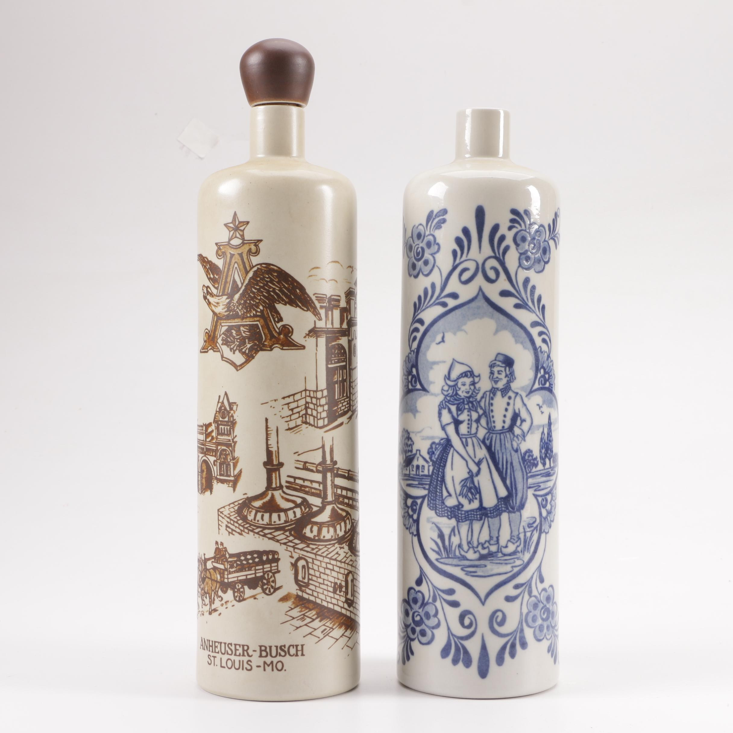 Ceramic Decanters featuring Anheuser-Busch