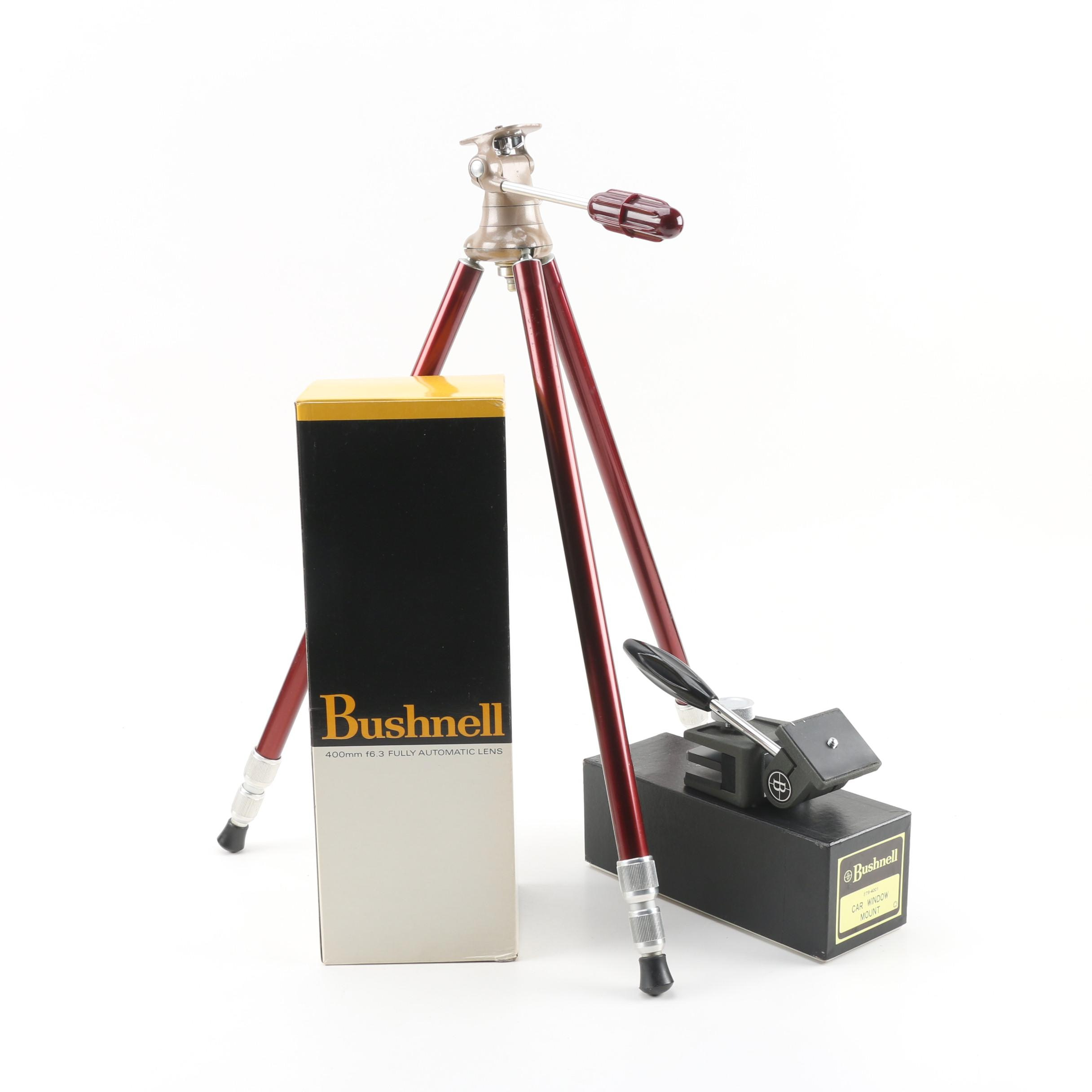 Bushnell 400mm Automatic Camera Lens and Car Mount with Hollywood Junior Tripod