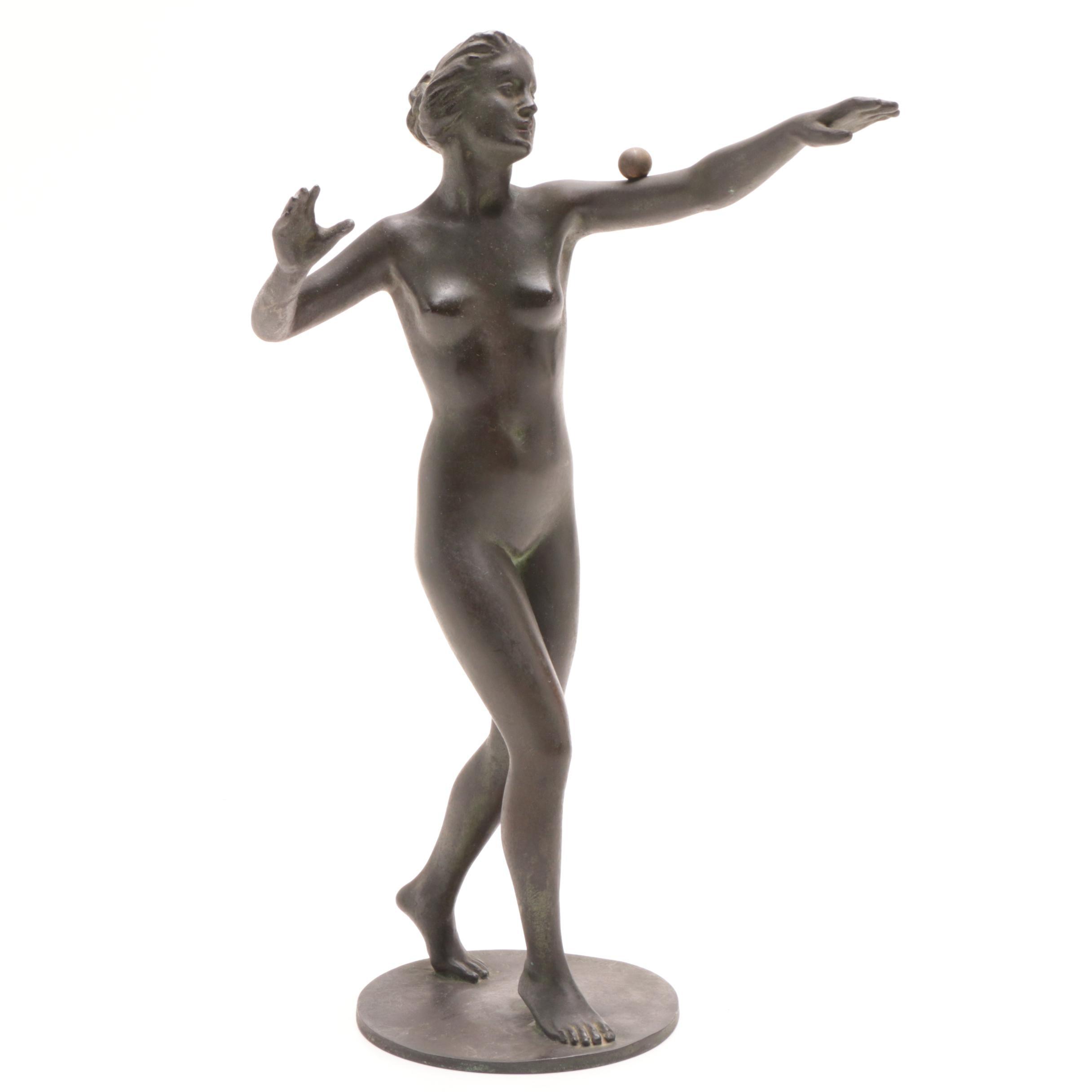 Hans Deiters Bronze Sculpture of Balancing Woman