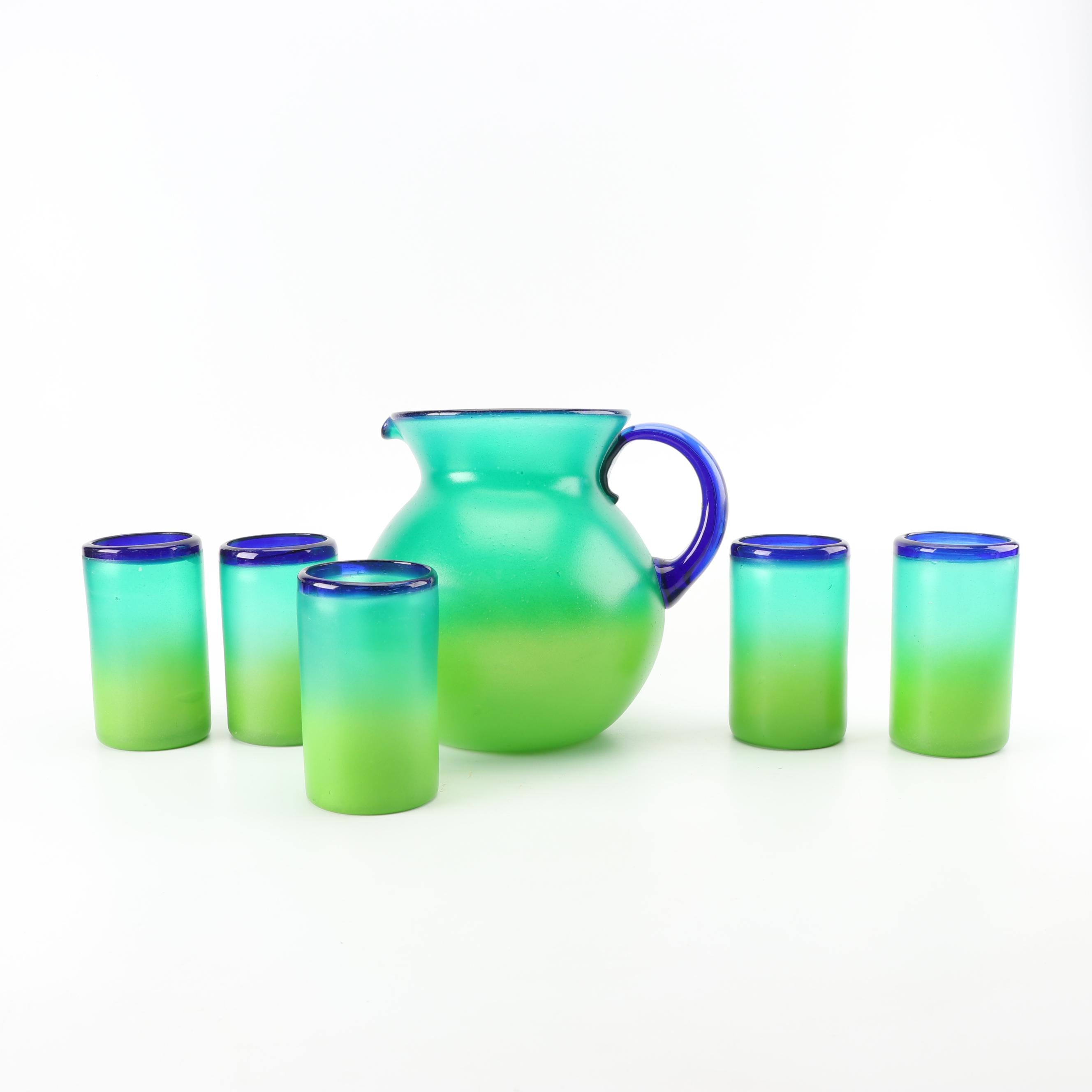 Flashed Glass Pitcher and Drinking Glasses