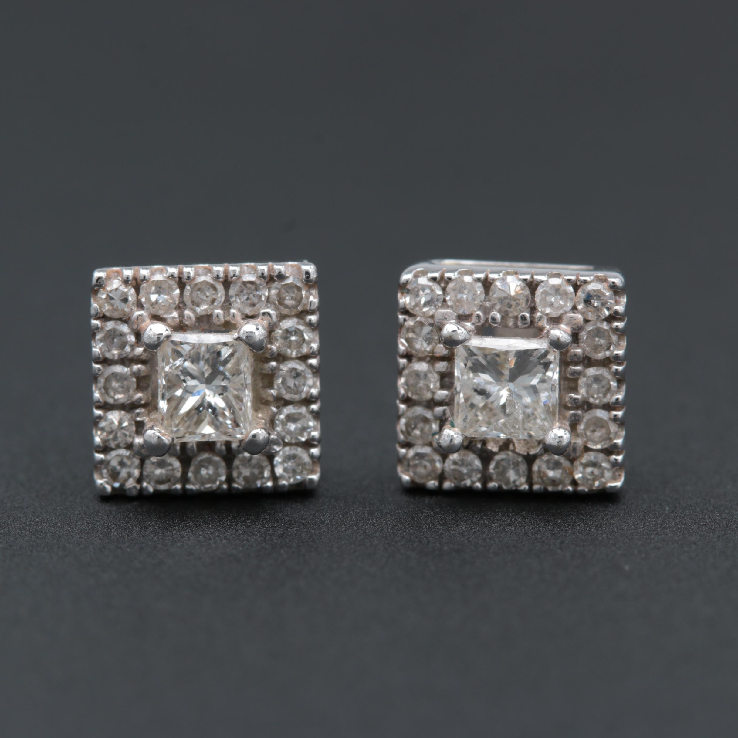 14K White Gold Diamond Earrings