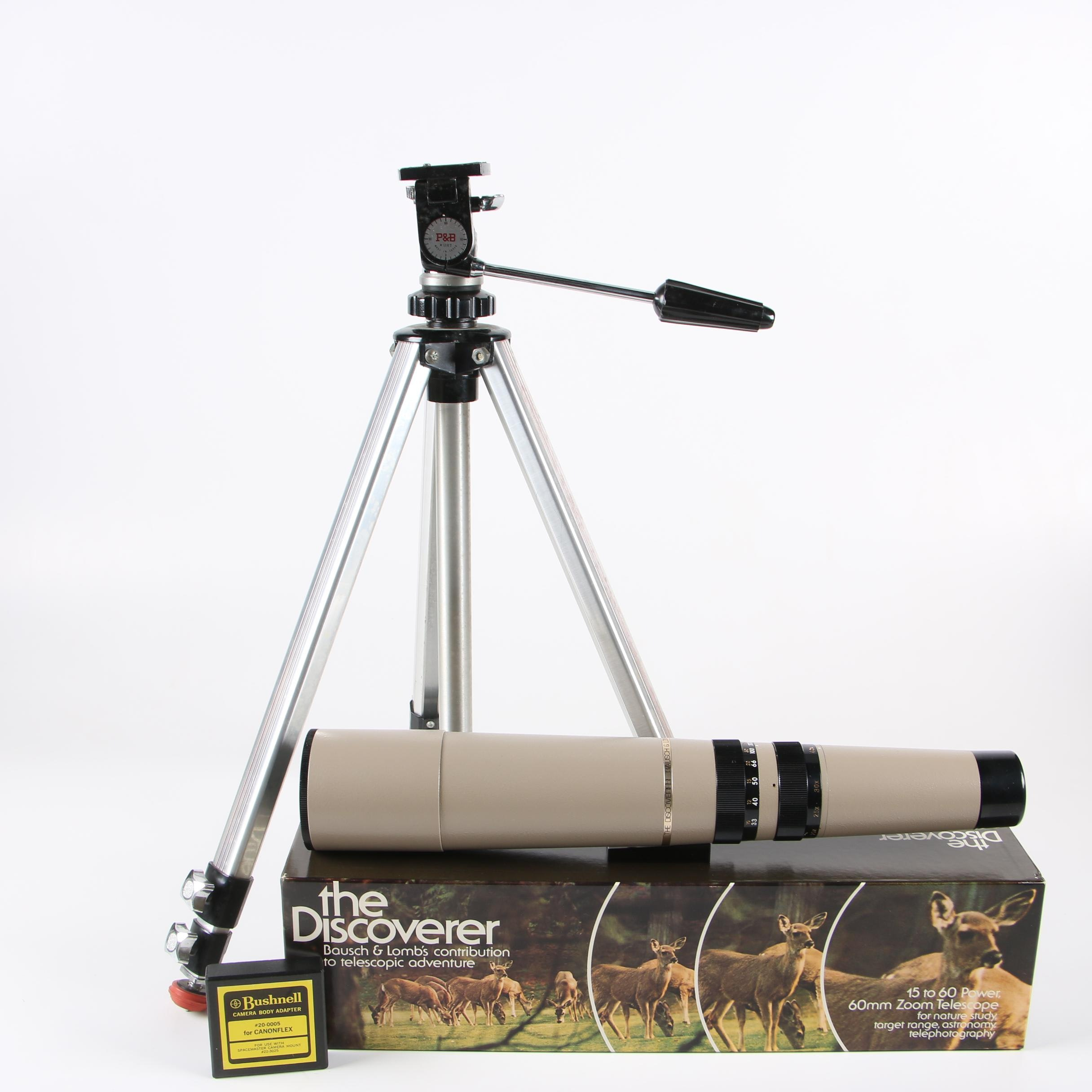 """Bausch & Lomb """"The Discoverer"""" Telescope with P&B Tripod and Camera Adapters"""