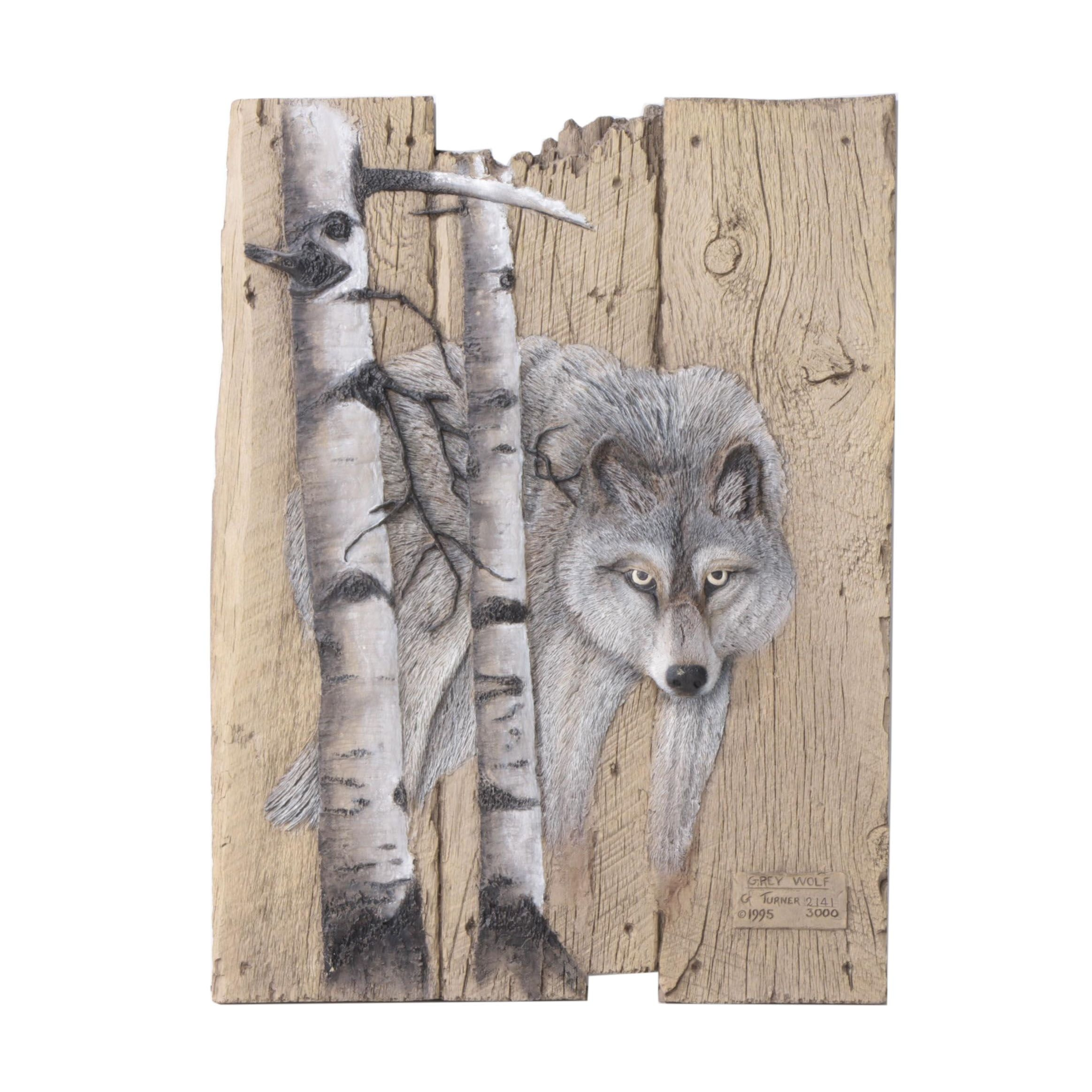 "George Turner Limited Edition Resin Sculpture ""Grey Wolf"""