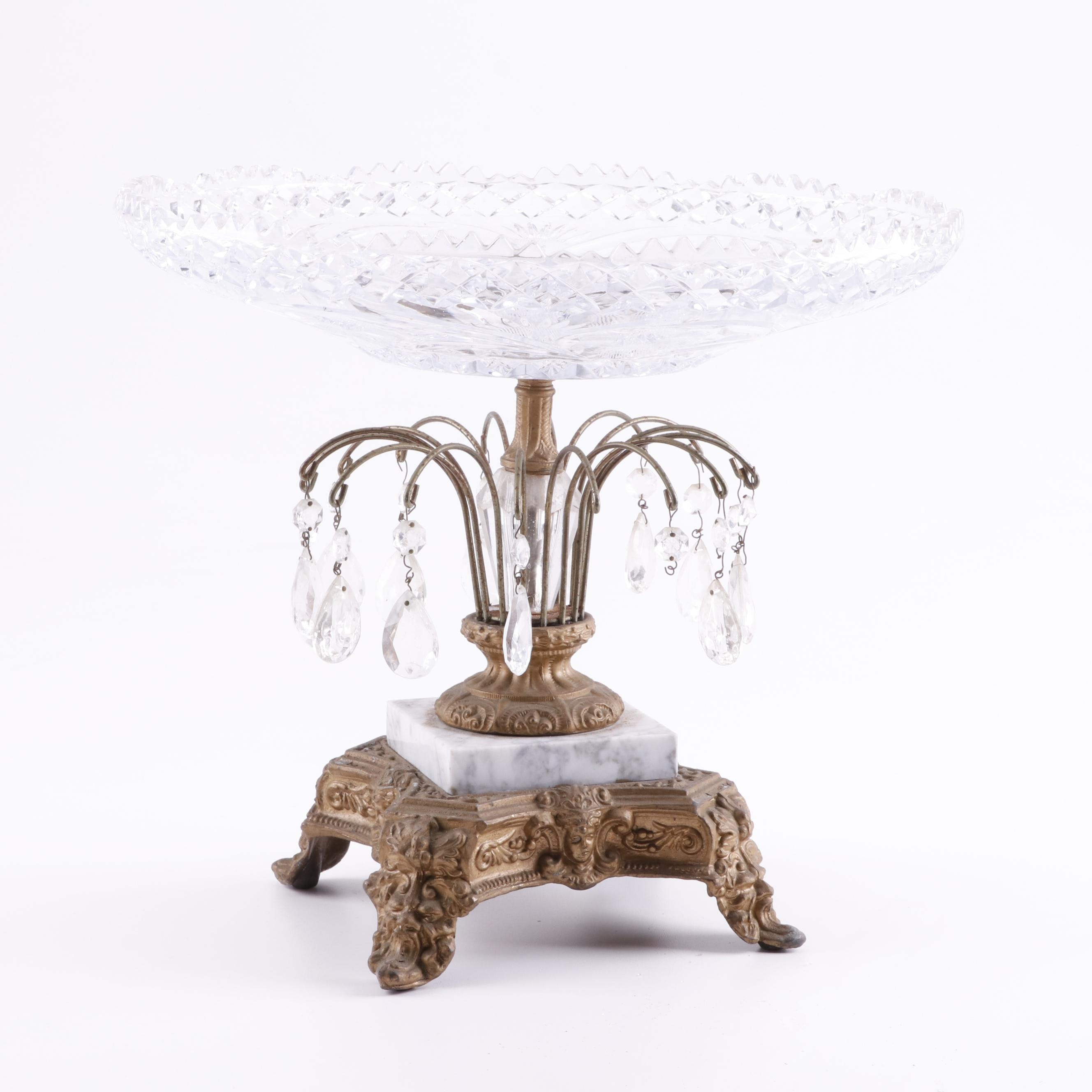Brass, Glass and Marble Compote